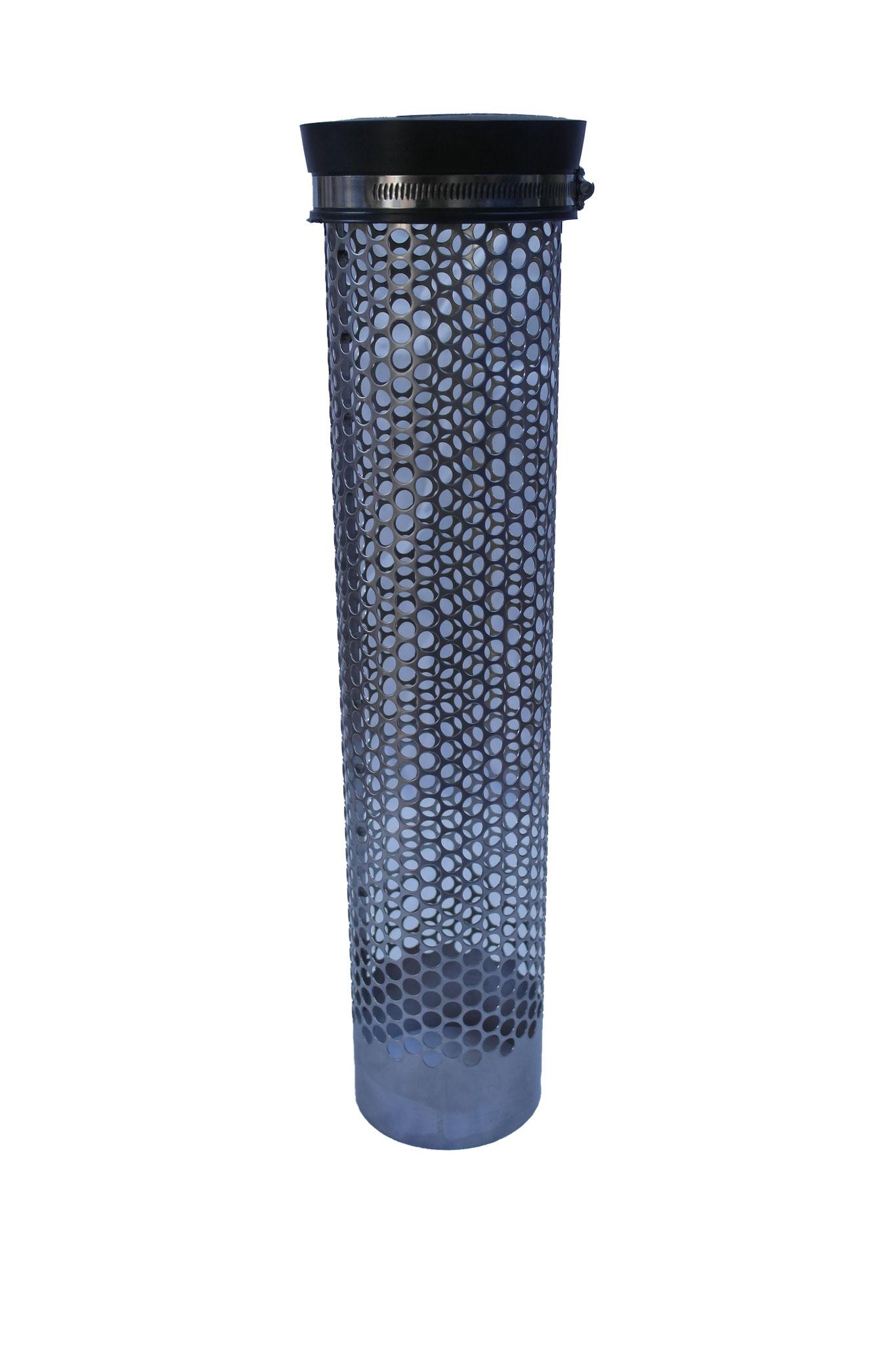 Siebrohr mit Endkappe für 110er KG Rohr