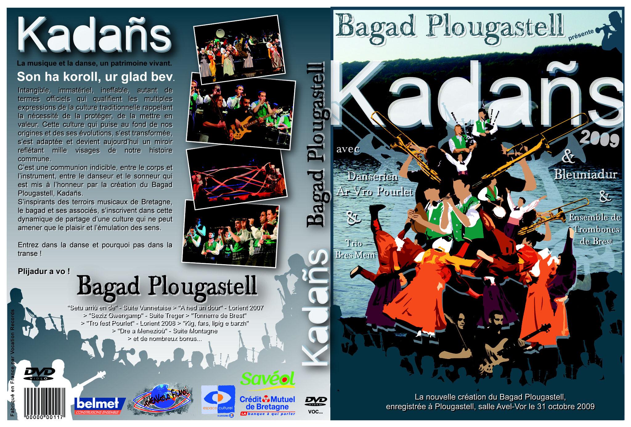 Couverure/pochette du DVD du Spectacle KADAÑS du Bagad Plougastell