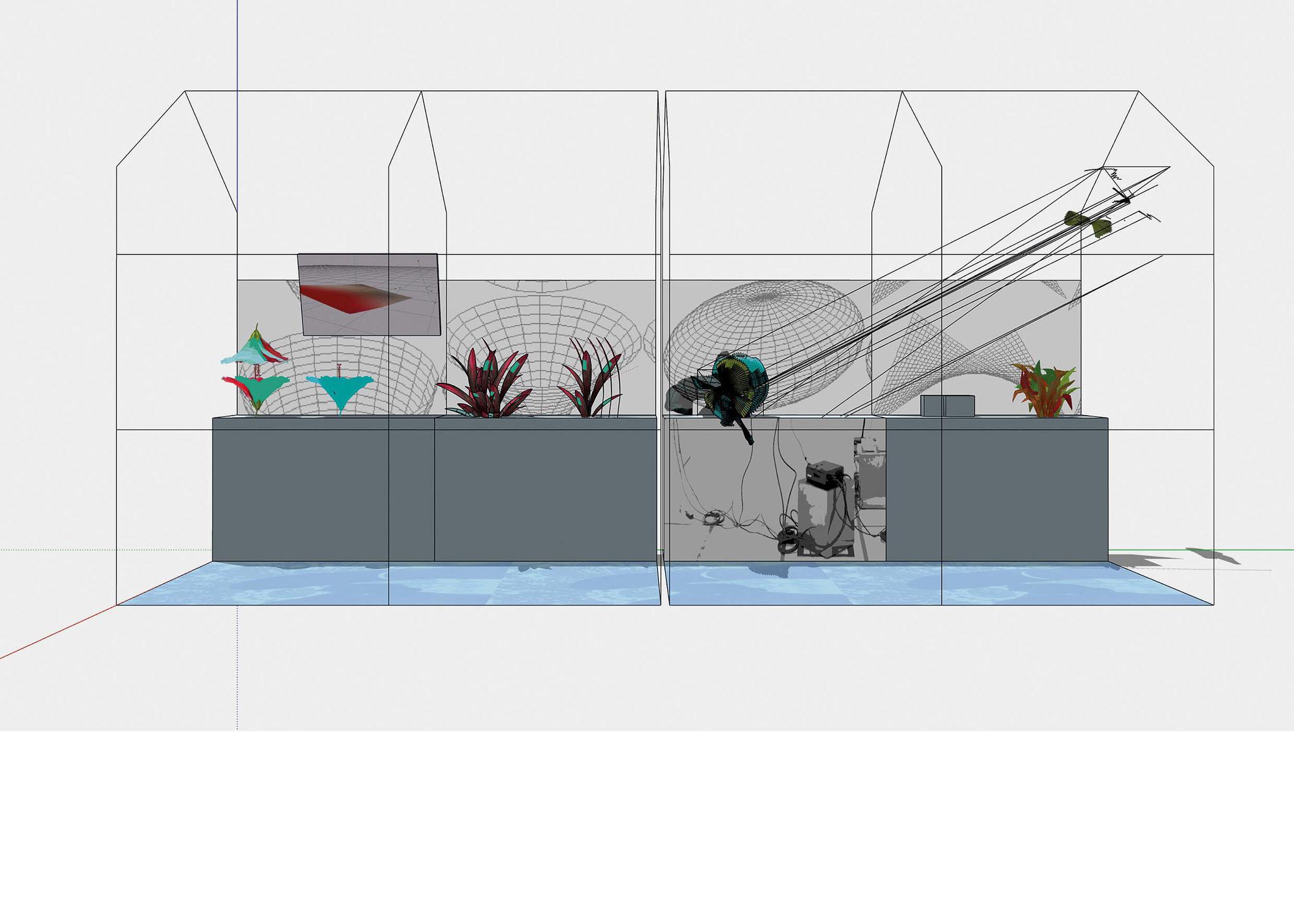 """Clas Steinmann / Paul Steinmann  """"Glashaus"""", 150x380x200 cm, Konstruktonszeichnung, Realisierung der Installation vor Ort in der Kunsthalle"""