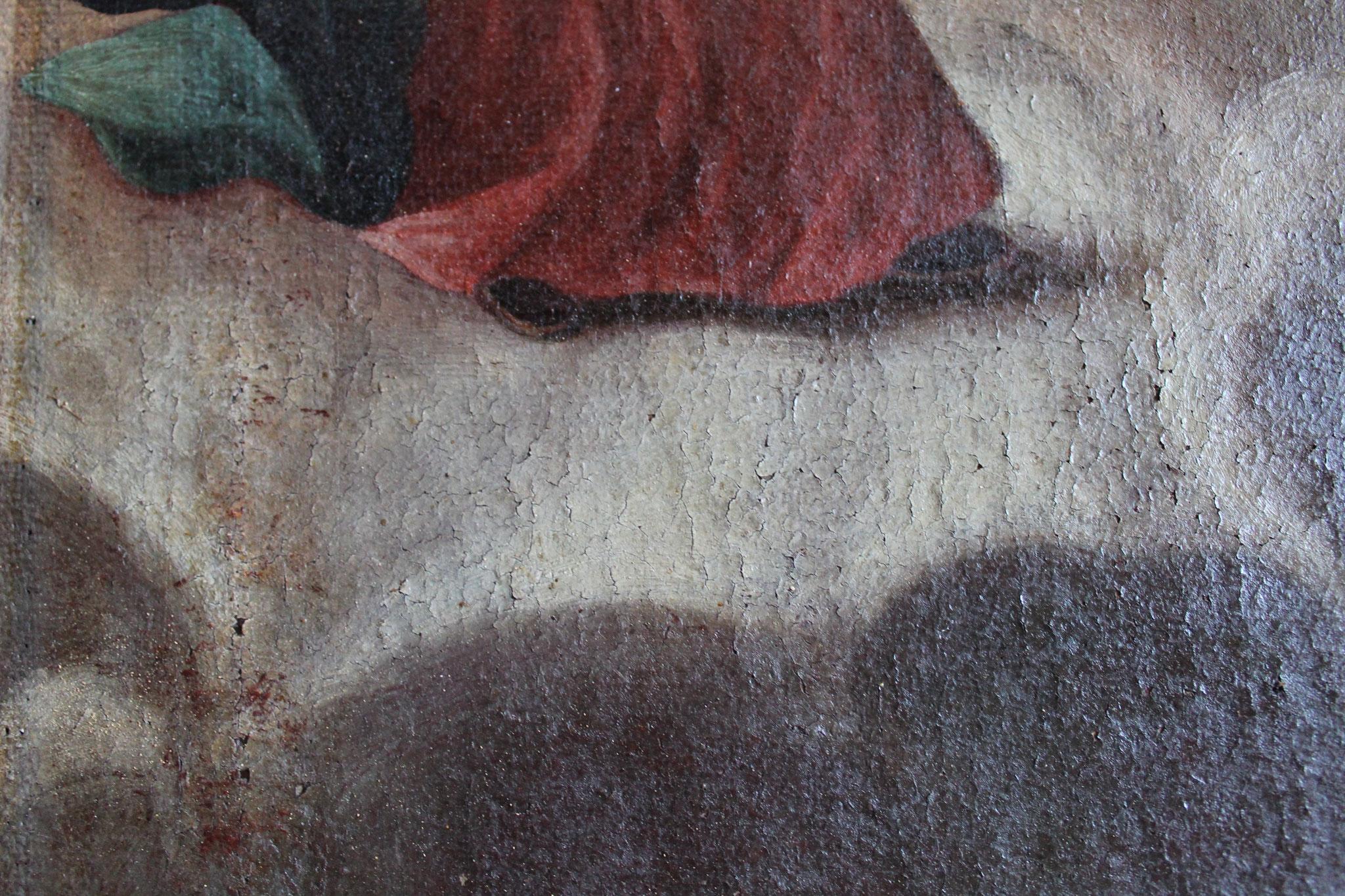Aperçu de la couche picturale après nettoyage