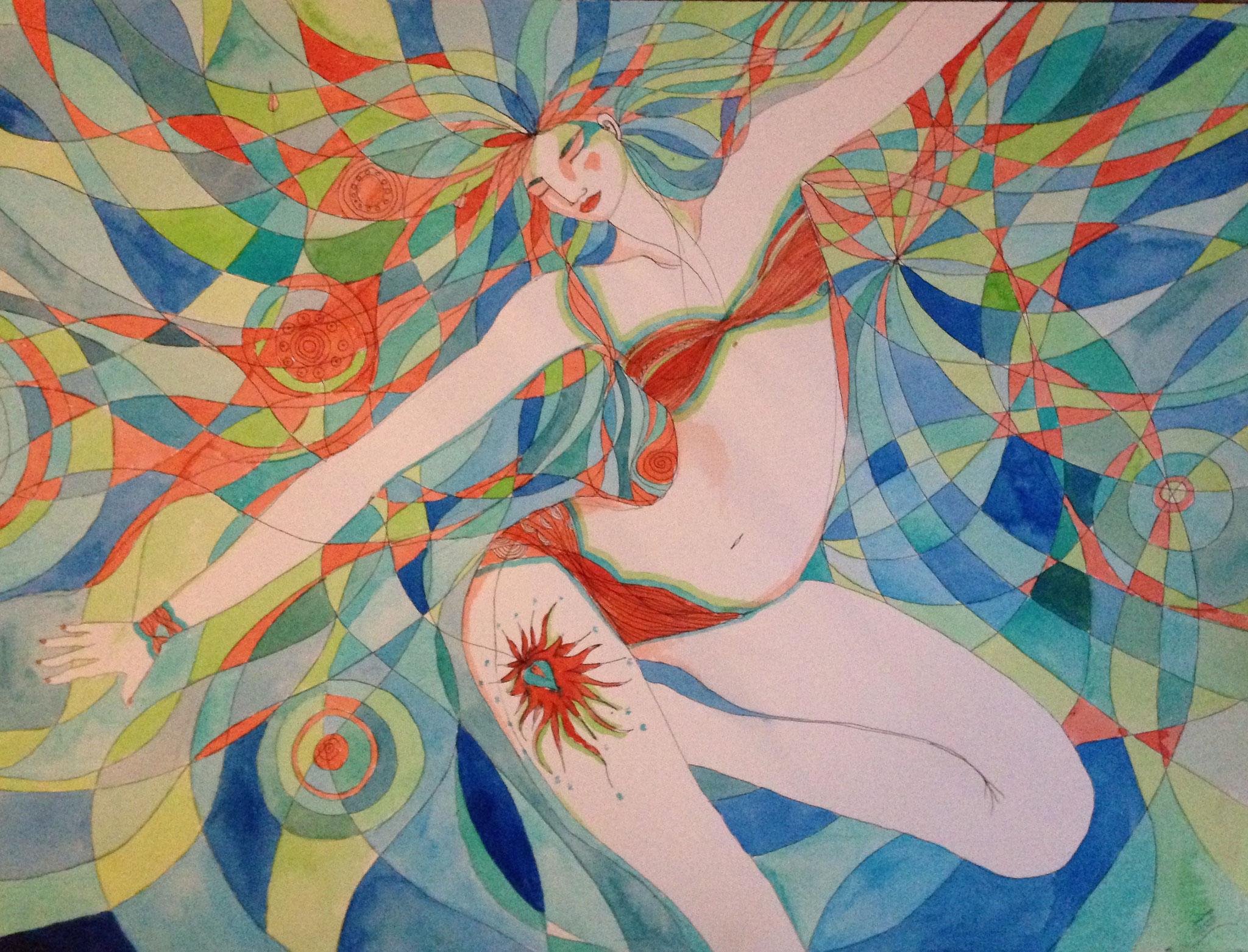 Liberté.  Aquarelle  ~  61 cm sur 46 cm
