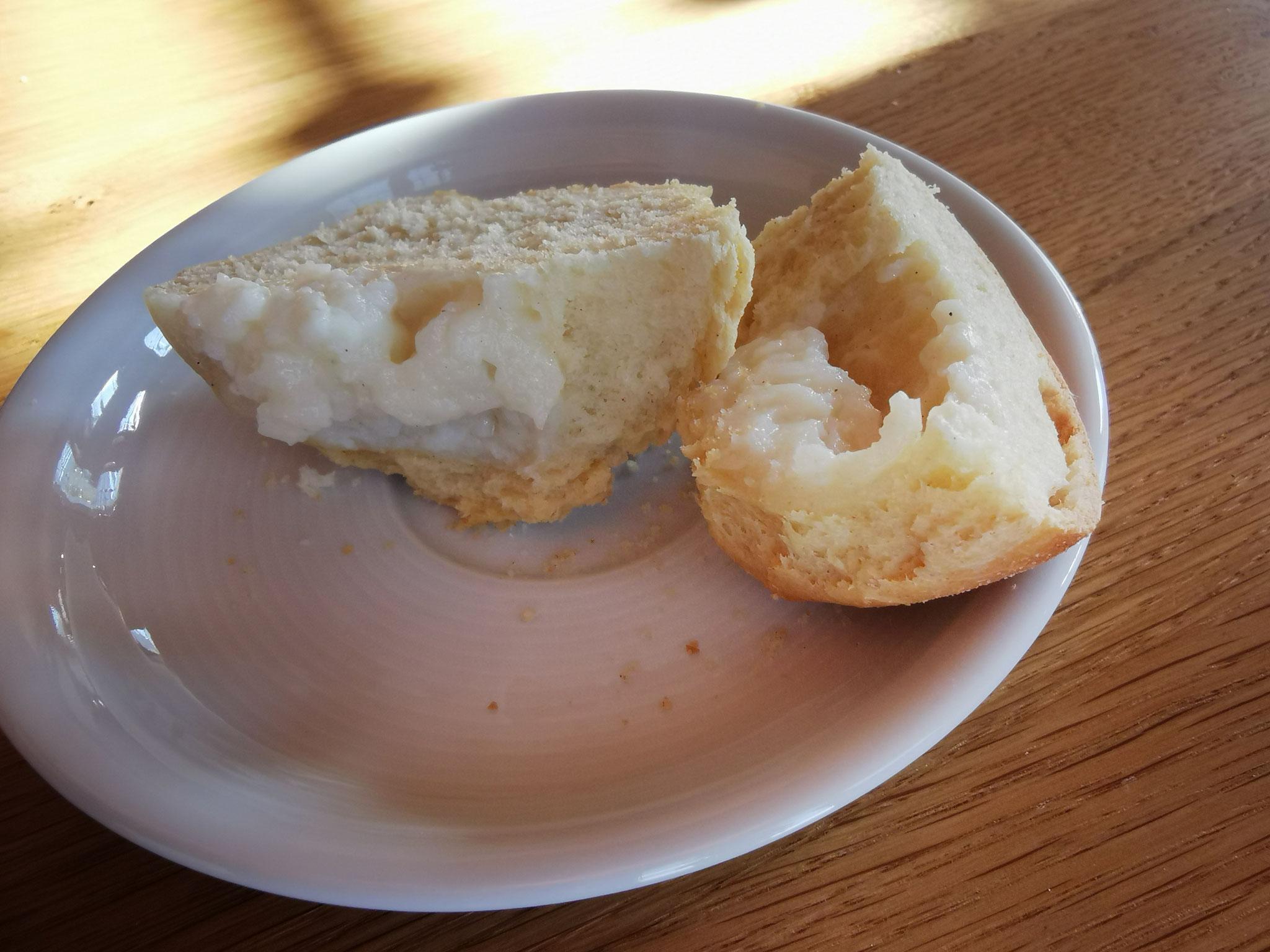 Hefemuffins mit Pudding - alles zuckerfrei und fettarm - aus Dinkelmehl
