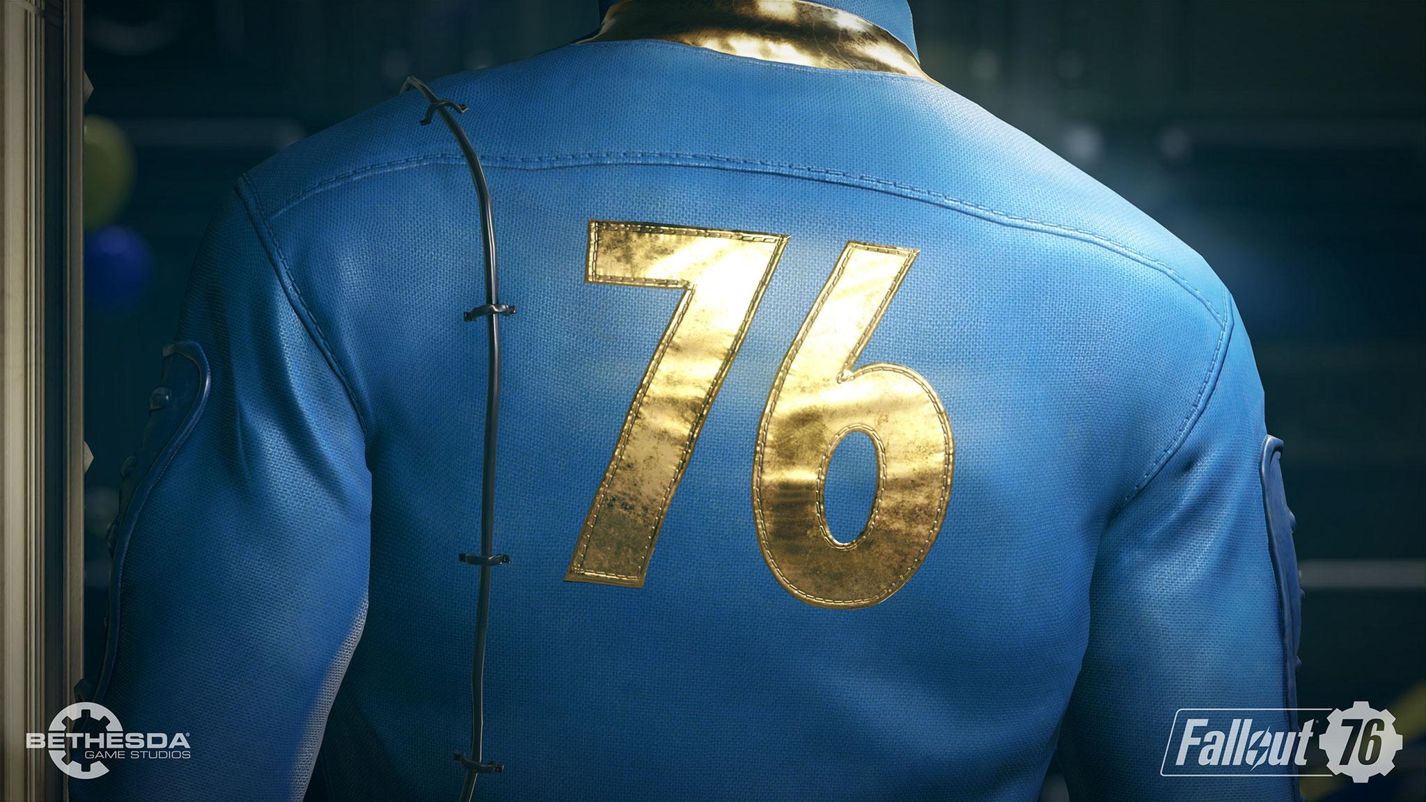 """Für den ersten Online-Ableger seiner Rollenspielreihe """"Fallout"""" setzt Hersteller und Entwickler Bethesda auf bekannte Serien-Trademarks wie die blauen Anzüge der Vault-Bewohner oder ..."""