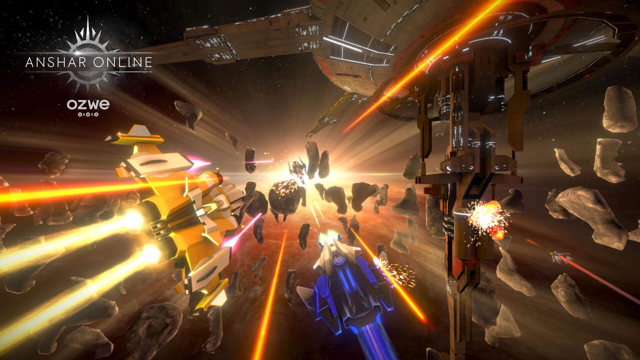 """Kein Headset ohne Effekt-geladenen Space-Shooter zum Start: """"Anshar Online"""" beamt """"Go""""-Piloten in ein vernetztes Action-Universum, in dem sie sich mit anderen Spielern duellieren."""
