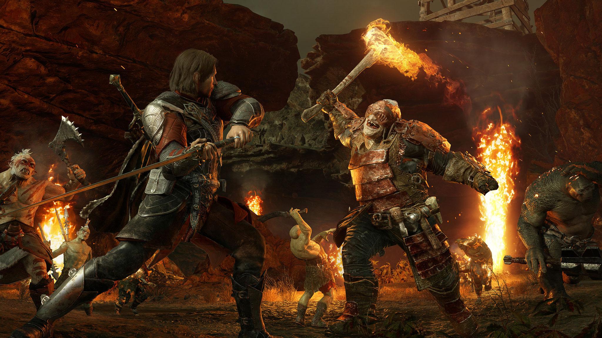 """Monoliths """"Mittelerde""""-Action-Rollenspiele """"Mordors Schatten"""" und """"Schatten des Krieges"""" sind bisher die aufwändigsten Spiele-Produktionen in Mittelerde. Wie das gerade angekündigte MMORPG sind sie in der Zeit vor dem Ringkrieg angesiedelt."""