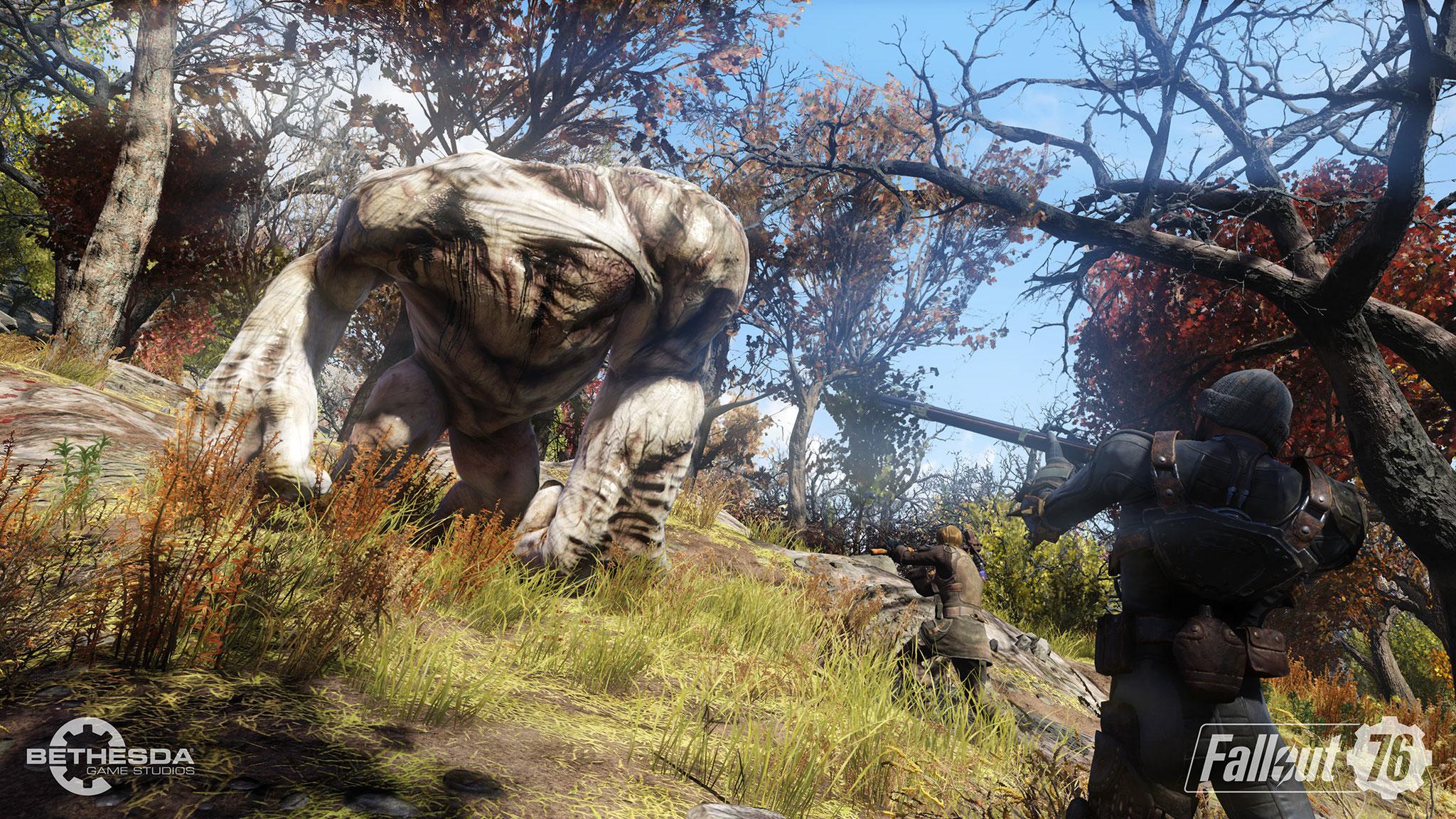 """Die Koop-Kämpfe gegen feindliche Kolosse wie diesen sind der Höhepunkt des Spiels: """"Fallout"""" ist endgültig zum Action-Spiel geworden."""