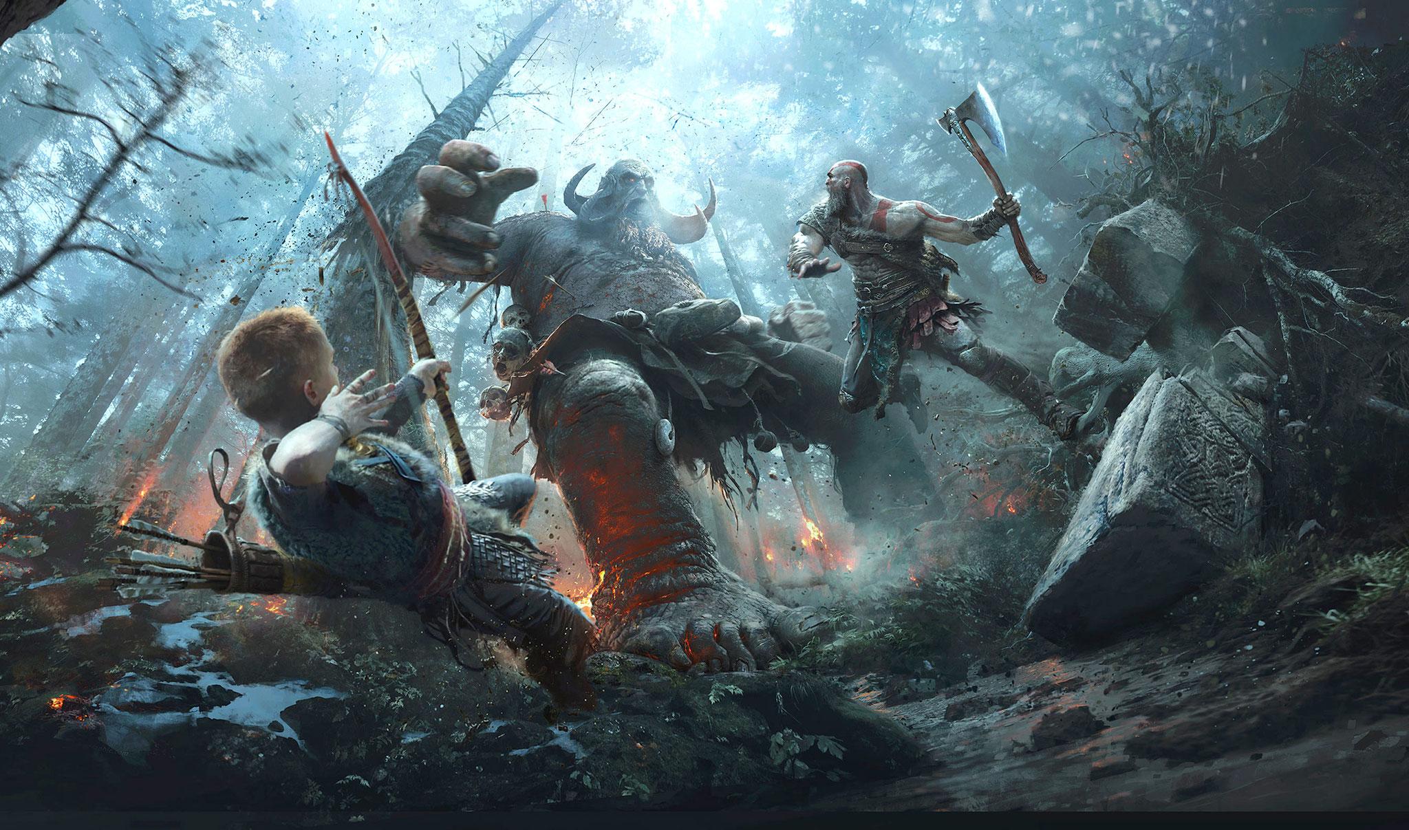 """Darf sich über die höchste Durchspielrate in der Liste freuen: das PS4-exklusive """"God of War"""" wurde von immerhin 53,6 Prozent seiner Käufer abgeschlossen."""