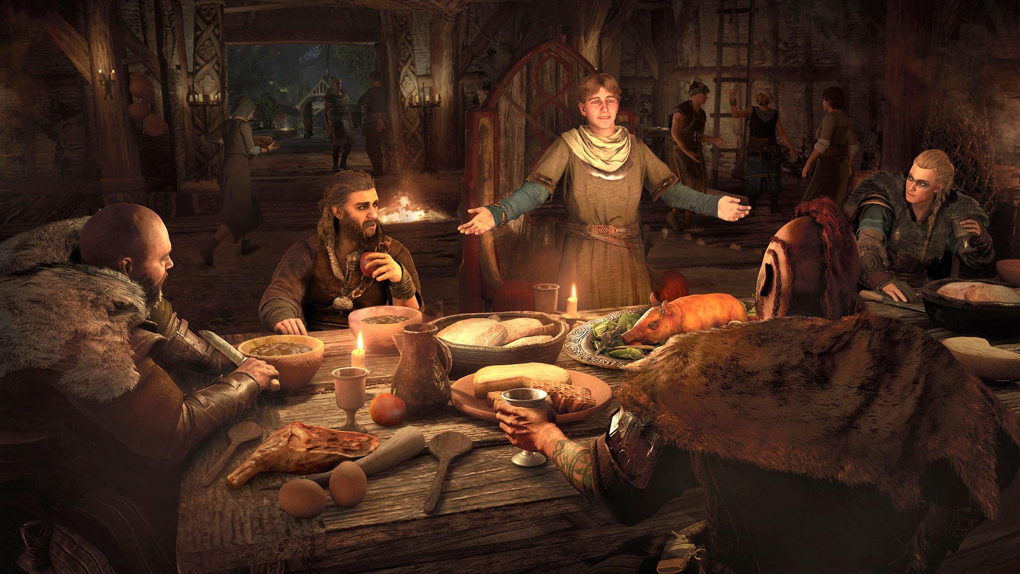 Nach ihren Raubzügen stärken sich die Wikinger gerne in ihrer Festhalle. Je mehr Verbesserungen man den Lebensmittel-Händlern der Siedlung verpasst hat, desto üppiger fällt das Gelage aus