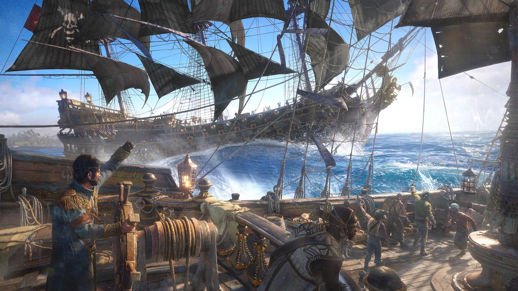 """Der nächste mutmaßliche """"Atlas""""-Nebenbuhler hatte noch immer keinen Stapellauf: Bei """"Skull & Bones"""" ist die Piraten-Crew nur visuelle Staffage, denn in Ubisofts See-Gefechten dreht sich alles nur um Schiffe. Landgänge oder gar Schatzsuchen? Fehlanzeige"""