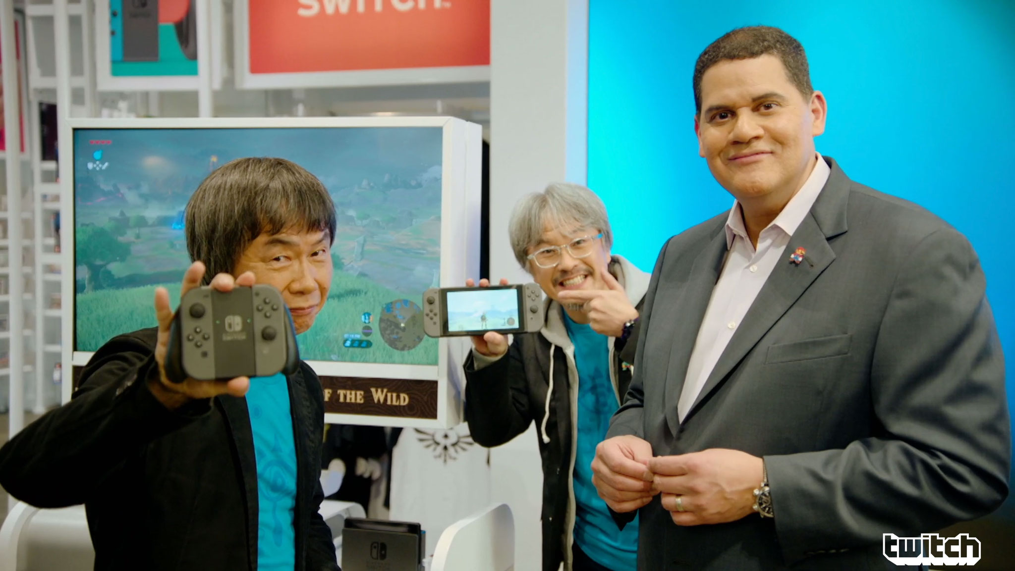 """Freuen sich auf das neue """"Zelda"""": Shigeru Miyamoto, Eiji Aonuma und Reggie Fils Aimé"""