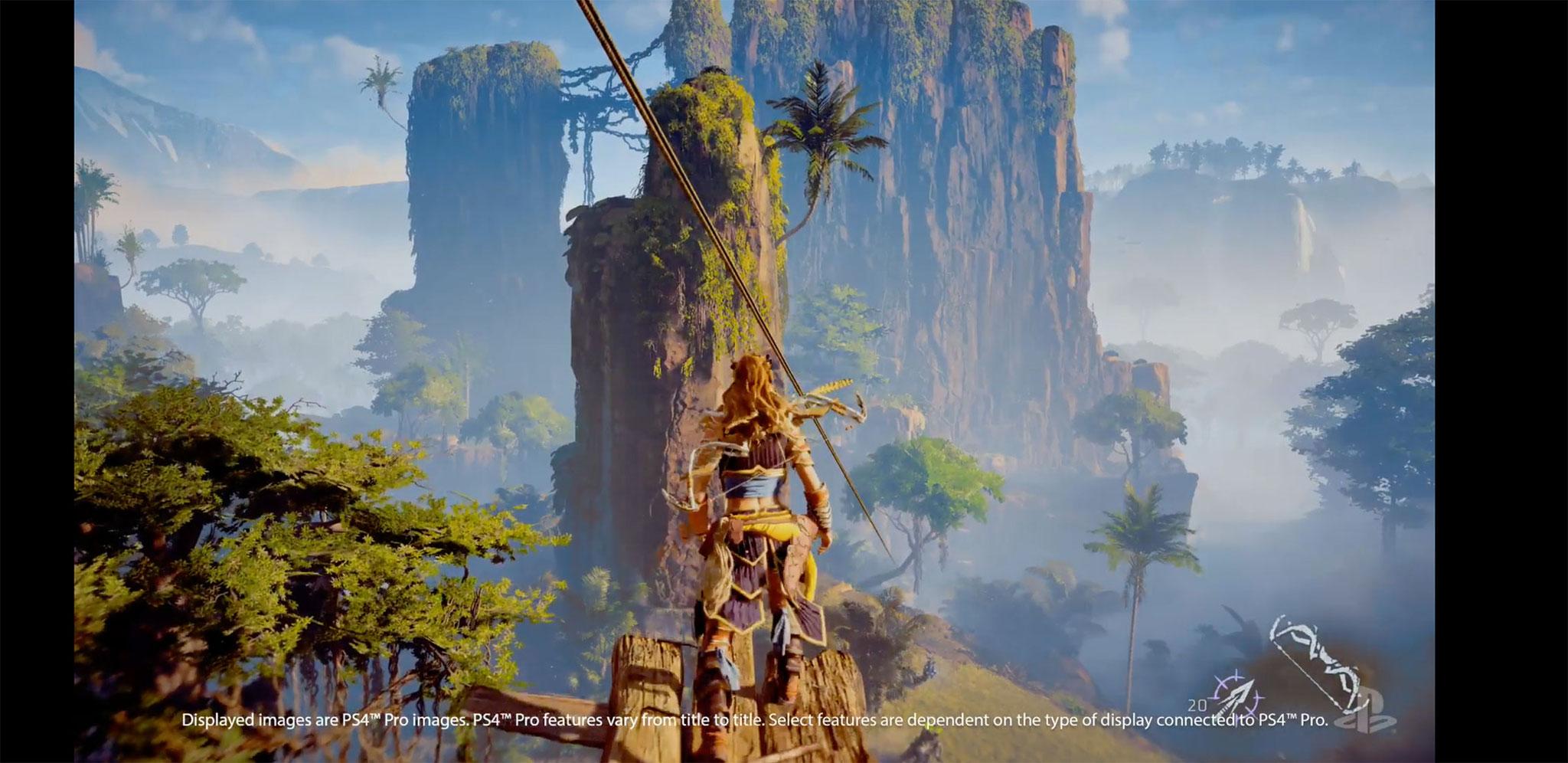 """""""Horizon: Zero Dawn"""" wurde mit ergänzenden Effekten und verfeinerter Grafik gezeigt: So wollte man illustrieren, dass die """"PS4 Pro"""" auch unter herkömmlicher HD-Auflösung für eine schickere Optik sorgen kann."""