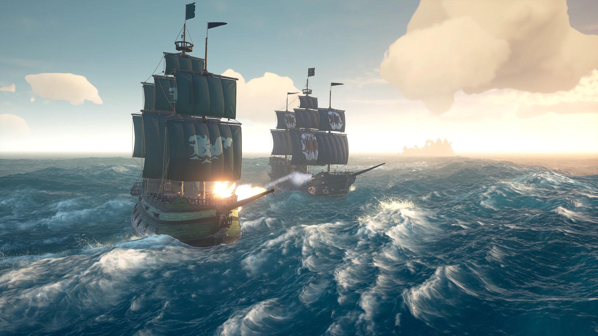 """Microsofts """"Sea of Thieves"""" (Bild) setzt auf Cartoon-Grafik und Mannschaften von beschaulicher Größe. Mit """"Atlas"""" droht jedoch ernsthafte Konkurrenz."""