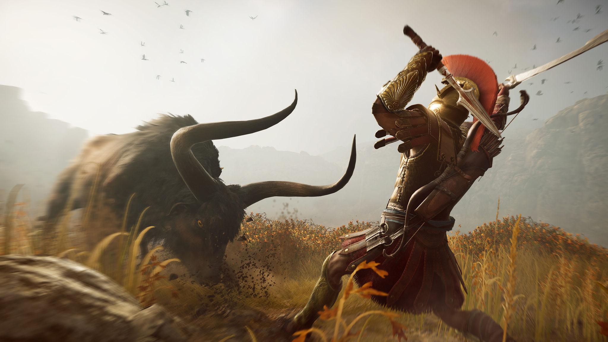 Der Spartaner und das liebe Vieh: Aggressives Getier liefert Ressourcen, um Ausrüstung und Schiff zu verbessern.