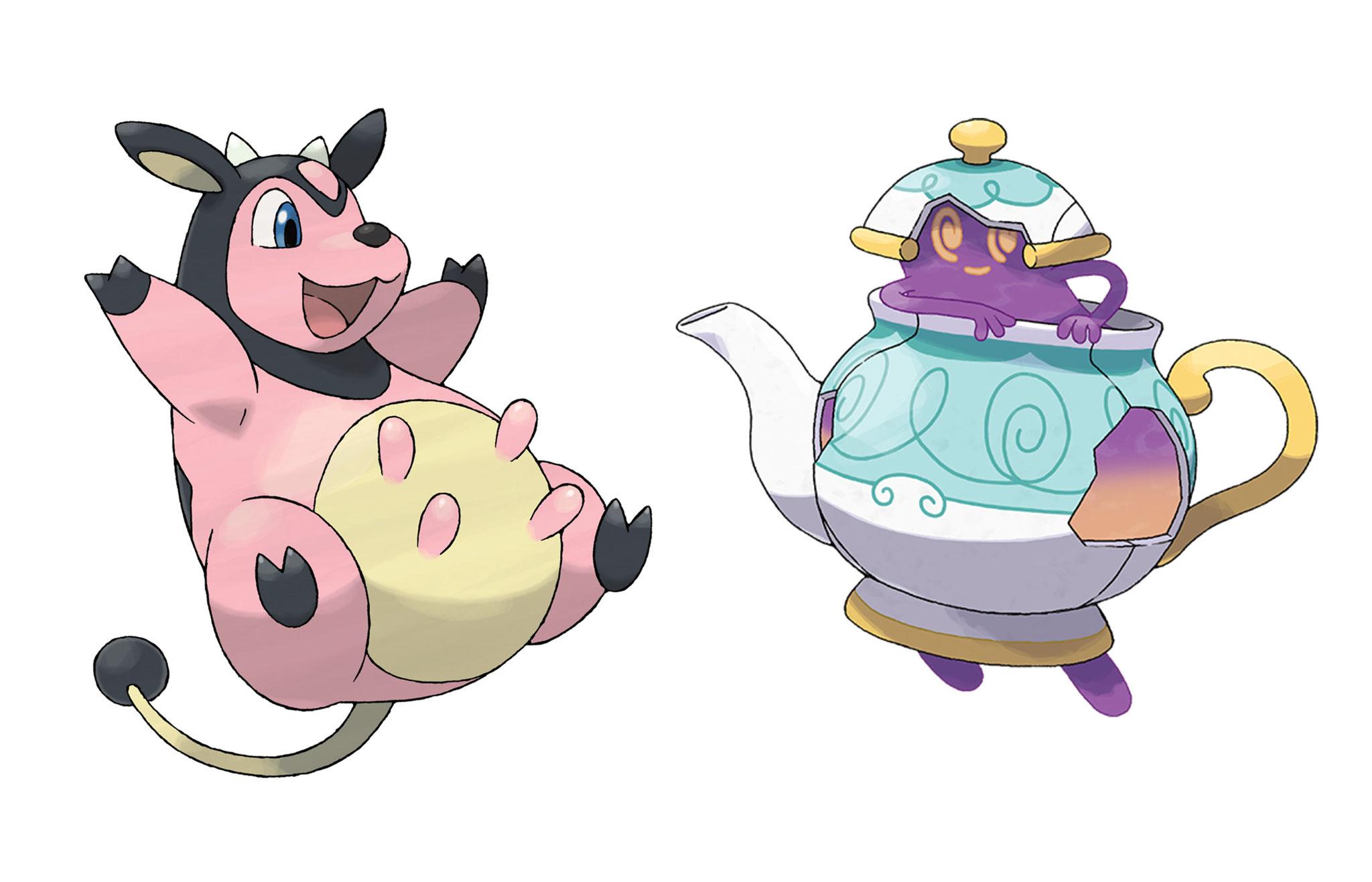 """Fleischkonsum war bislang kein Thema, Veganer sind die Bewohner der """"Pokémon""""-Welt aber ohnehin nicht. Das Kuh-ähnliche Miltank liefert gerne Milch, Mortipot gibt etwas von dem Tee ab, aus dem es sichtlich besteht."""