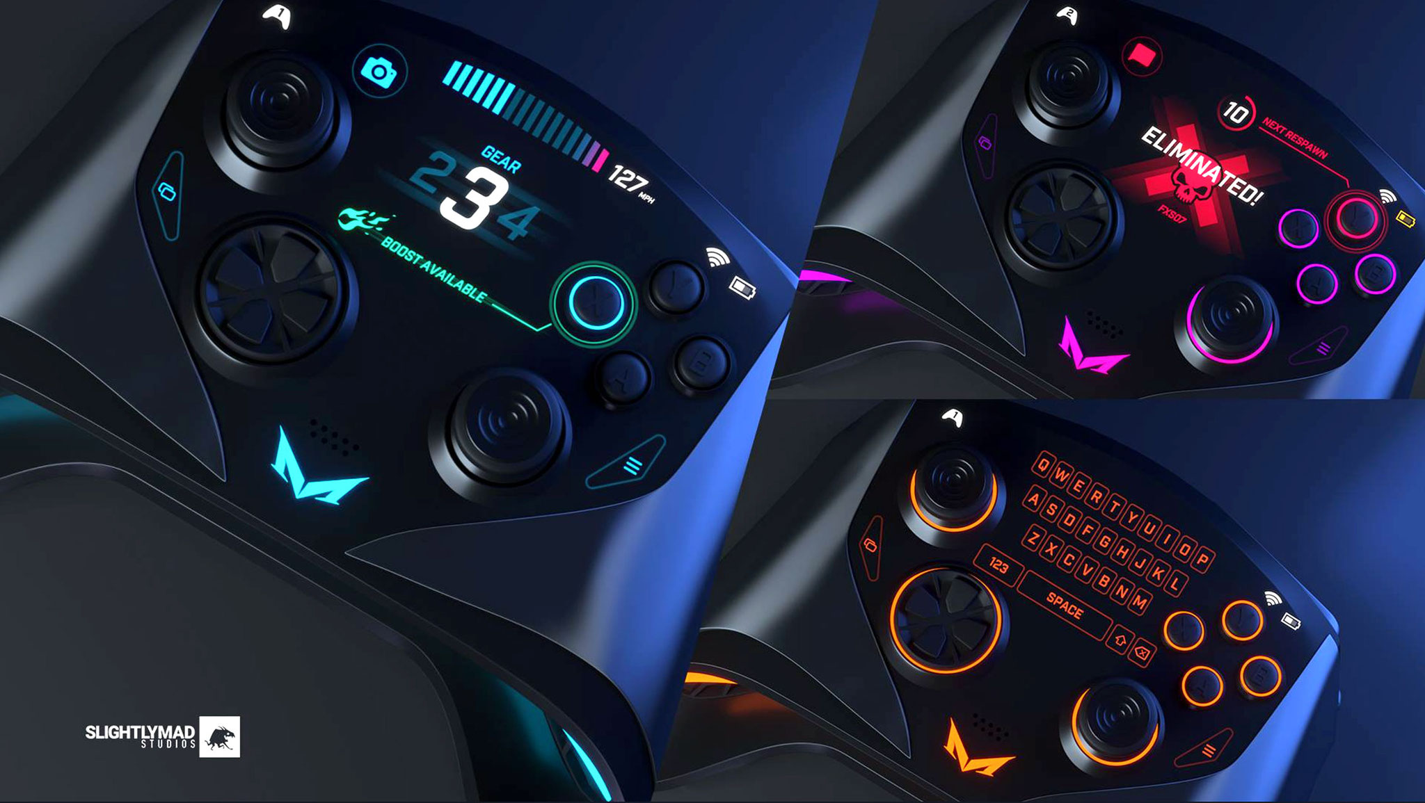 Die Gamepads für die Mad Box sollen wie die Konsole selber mit verstellbaren Licht-Elementen kommen, außerdem ist ein vollwertiger Touchscreen integriert.