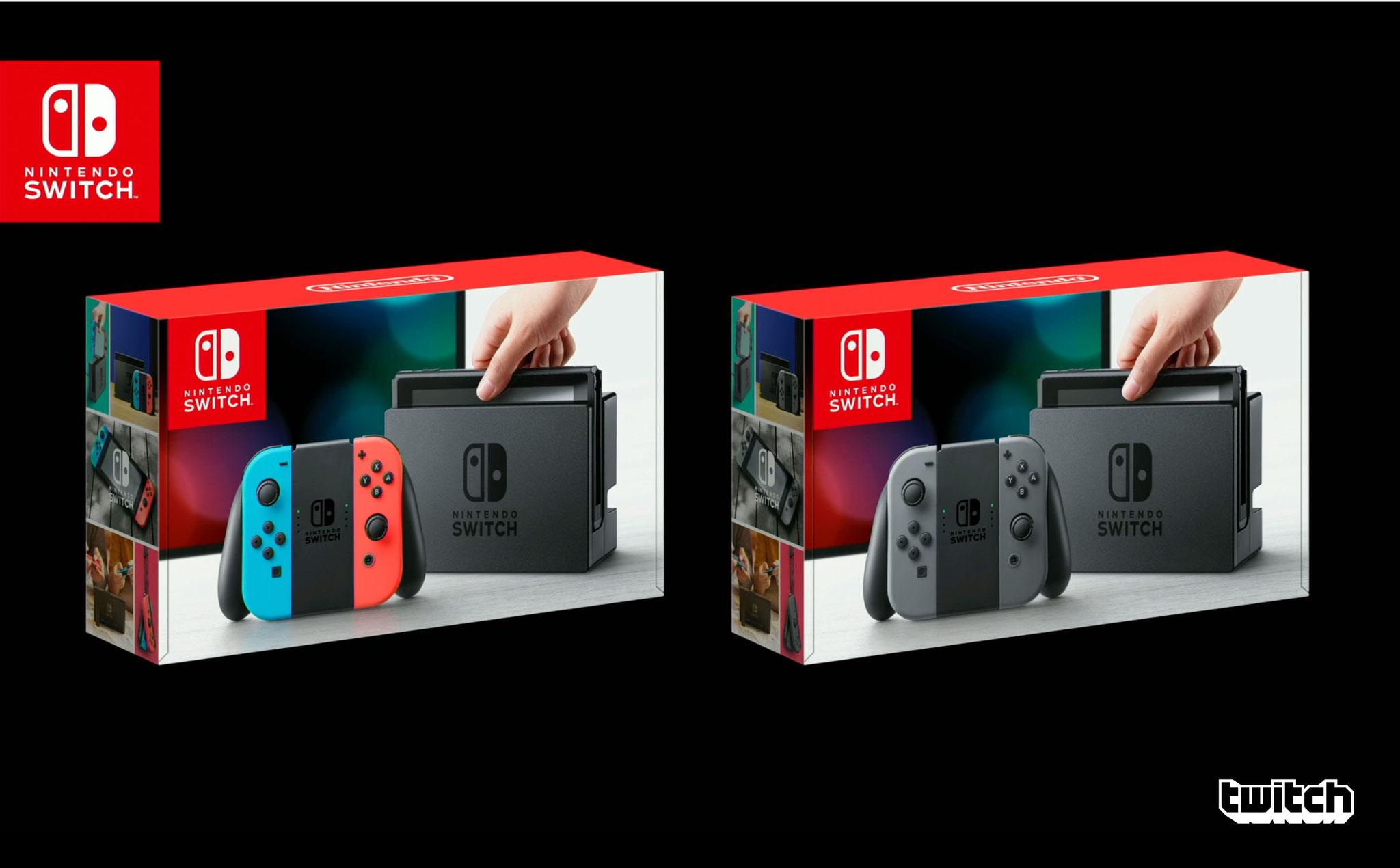 Das Switch-Paket in zwei Ausführungen - einmal mit schwarzen, das andere Mal mit bunten Joy-Cons