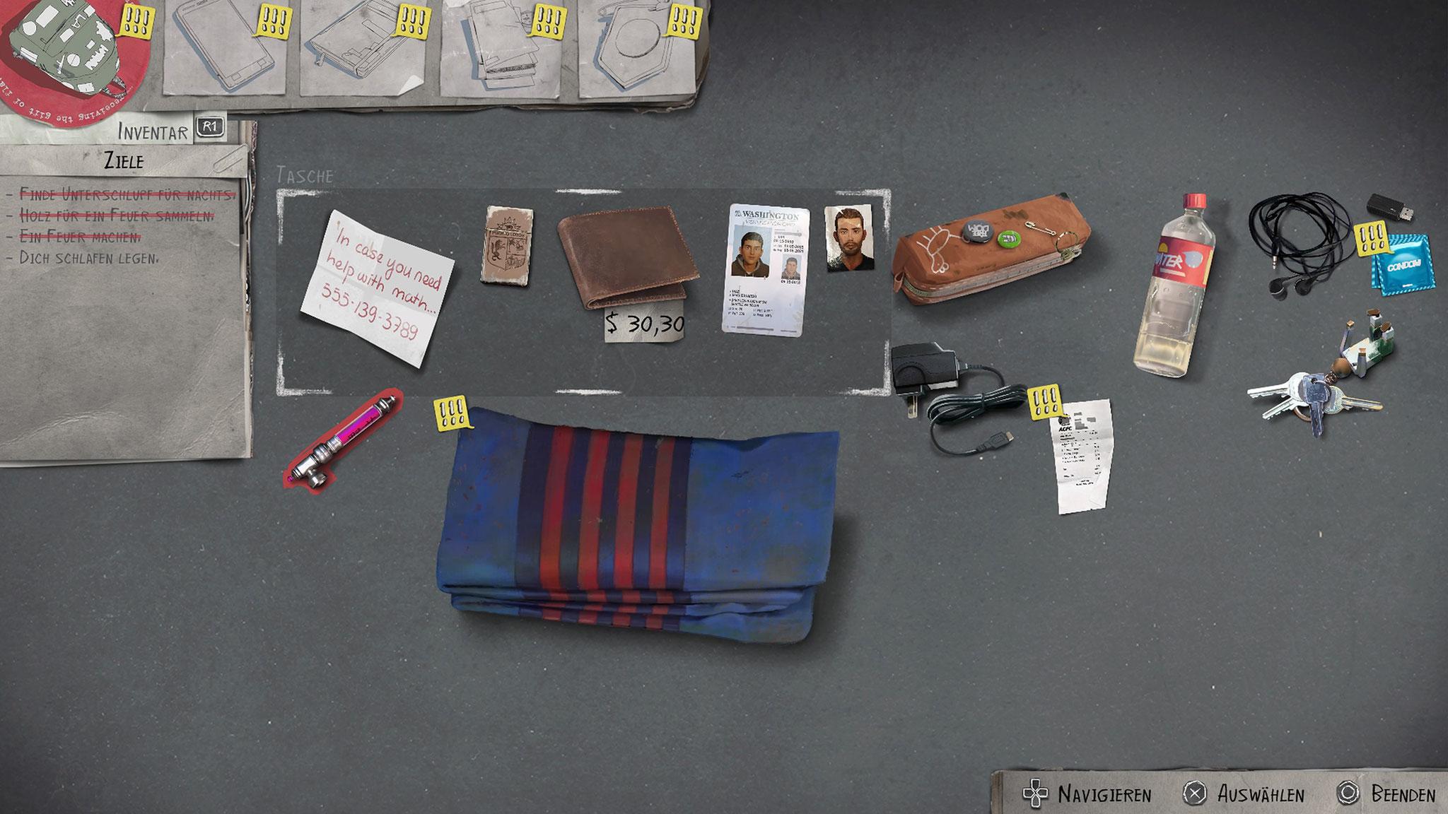 Ein Blick ins Rucksack-Inventar offenbart die unzulängliche Überlebens-Ausrüstung und klägliche Barschaft der Brüder.