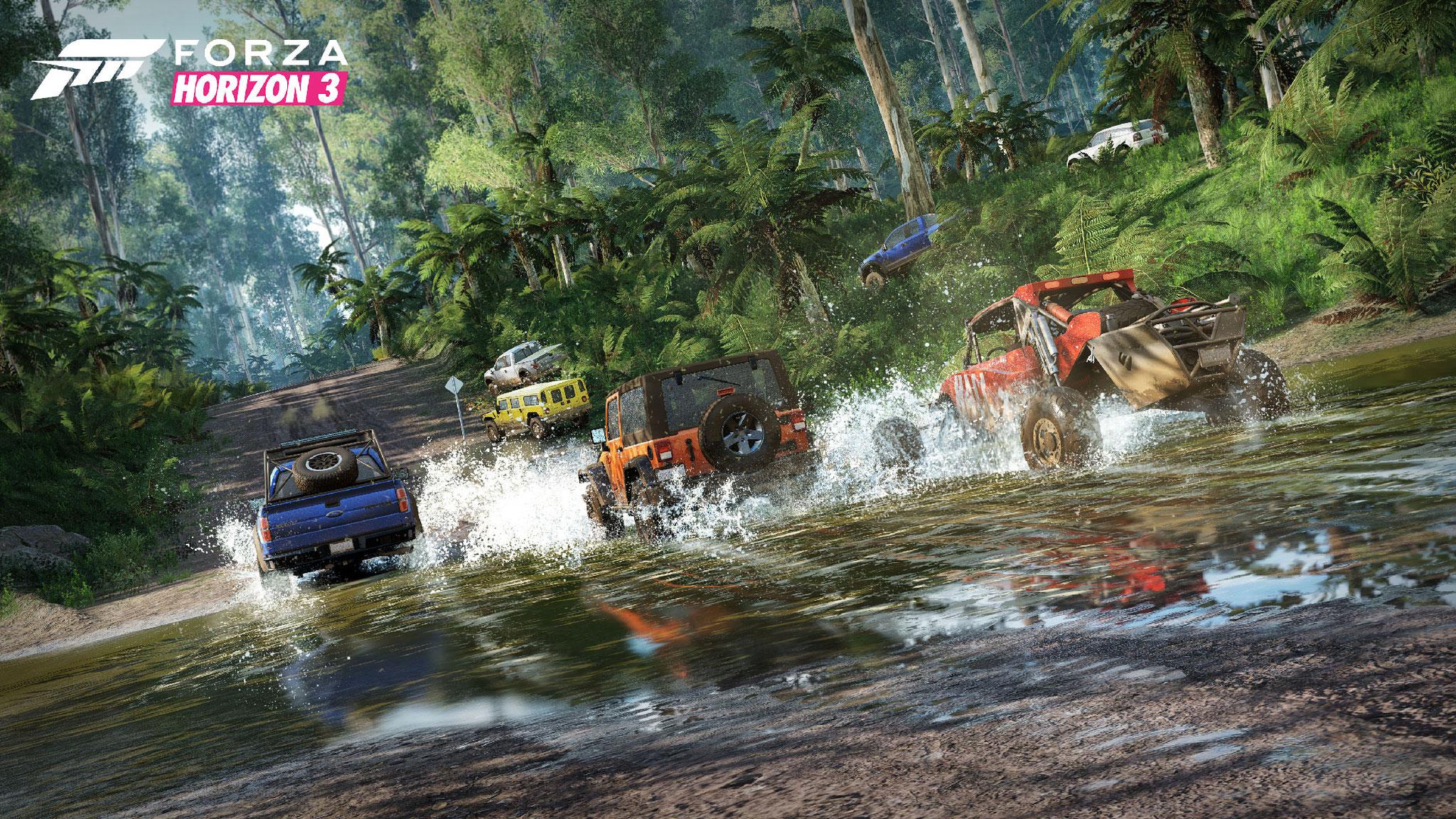 """Mit Vollgas über Stock und Stein: In """"Forza Horizon 3"""" brettern Querfeldein-Raser durch ein prachtvolles Open-World-Terrain, das Entwickler Playground nach dem Vorbild des australischen Outbacks gestaltet hat • Ab 27.09. für Xbox One, PC"""