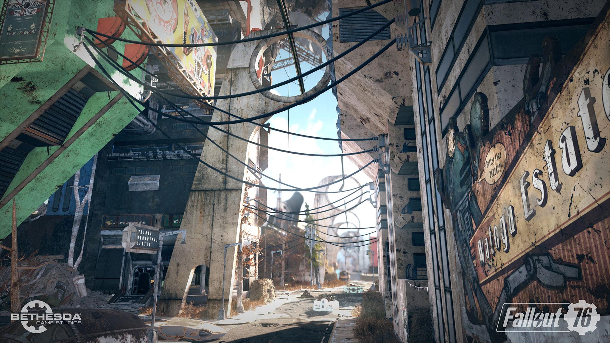 """Anders als in """"Fallout 4"""" wird beim Betreten von großen Gebäuden nicht nachgeladen, stattdessen wechselt man nahtlos von der Außenwelt ins Innere."""