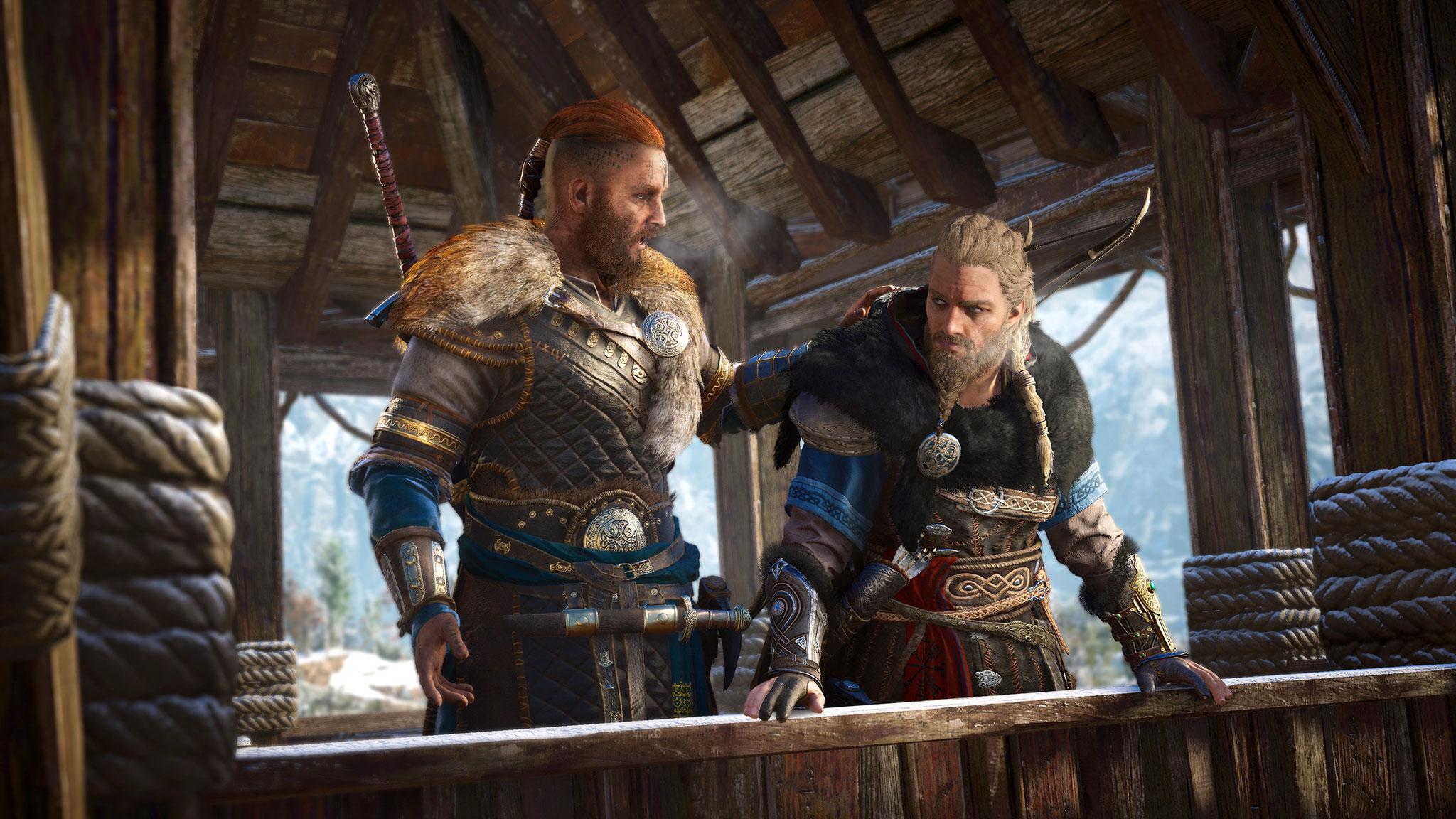 Entscheiden sich dafür, nach Englaland umzusiedeln: Der männliche Eivor (rechts) und sein Jugendfreund, der Wikinger-Prinz Sigurd.