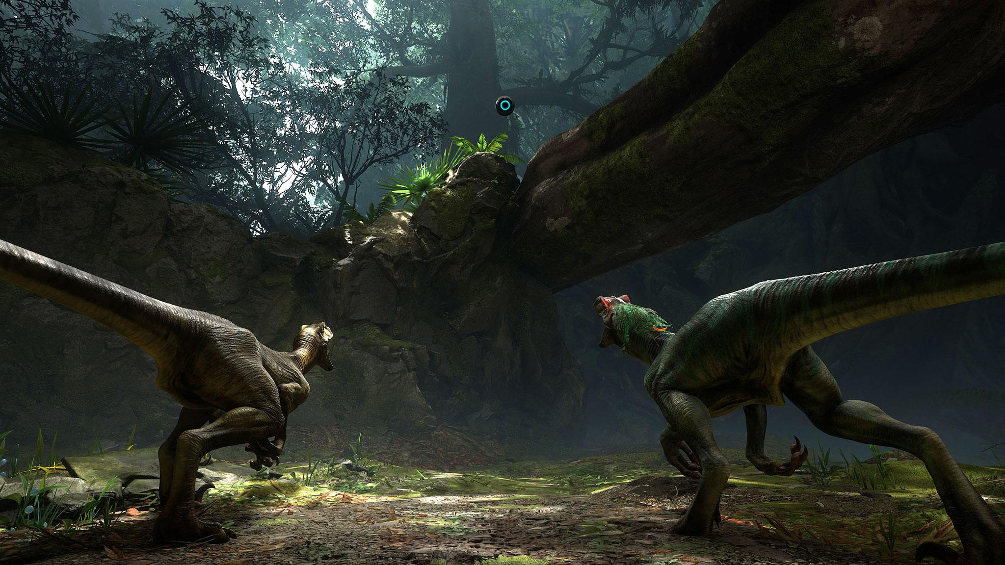 """Ausflug auf den Dinosaurier-Planeten mit """"Robinson: The Journey"""": Der visuell stärkste und vielleicht wichtigste Starttitel für Sonys Cyber-Headset kommt vom deutschen Grafik-Experten Crytek. (13.10. für PS4, PS VR)"""