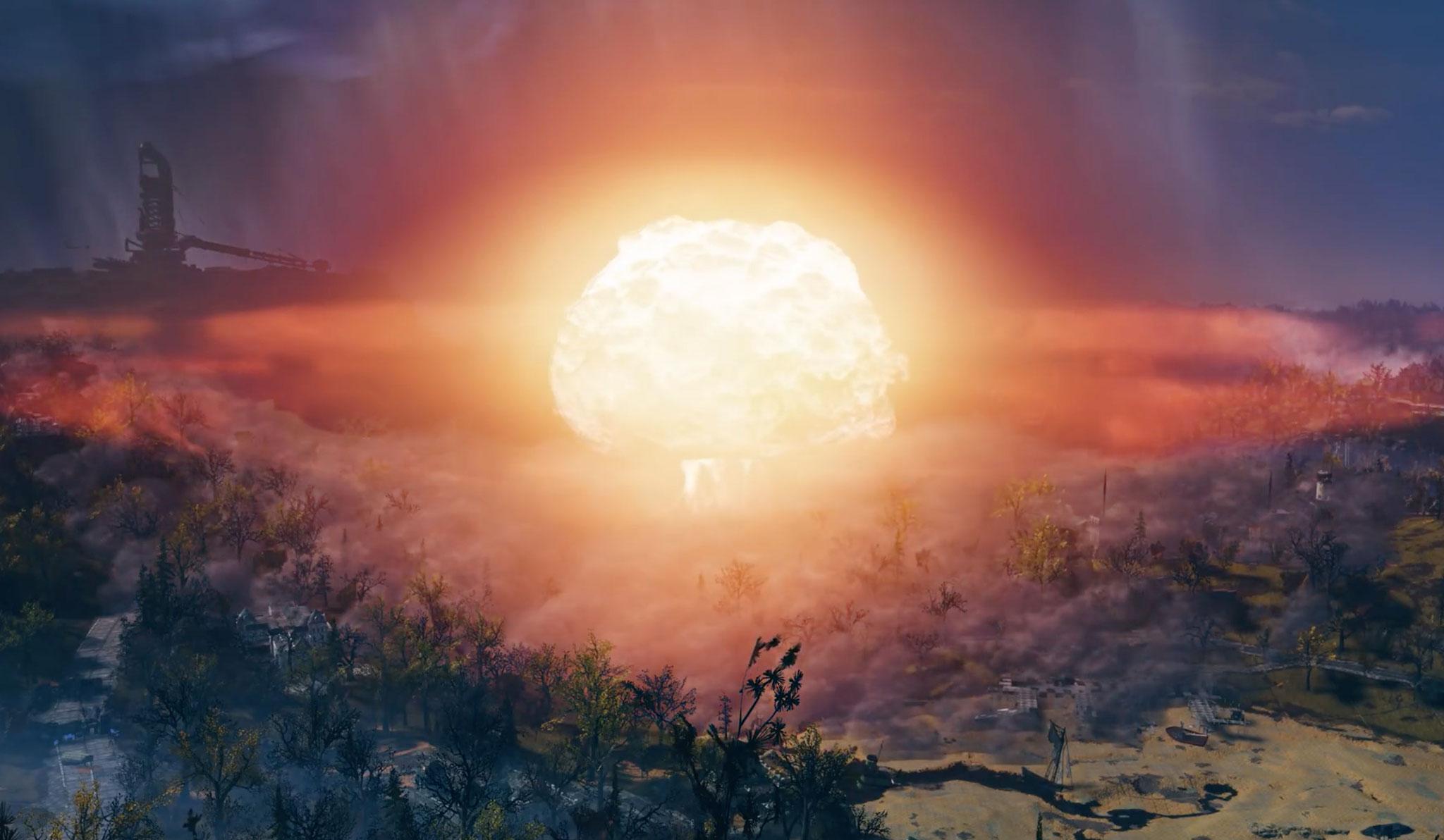 """Sprengung kolossalen Ausmaßes: In """"Fallout 76""""lassen sich weite Landstriche des Virginia-Wastelands mit Atombomben beschießen."""