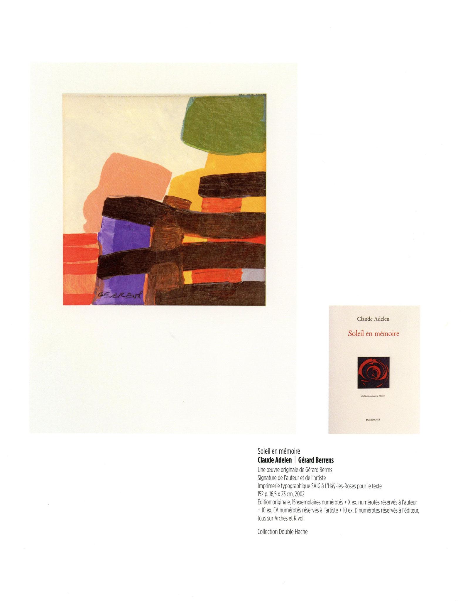 Soleil en mémoire - Claude Adelen / Gérard Berrens