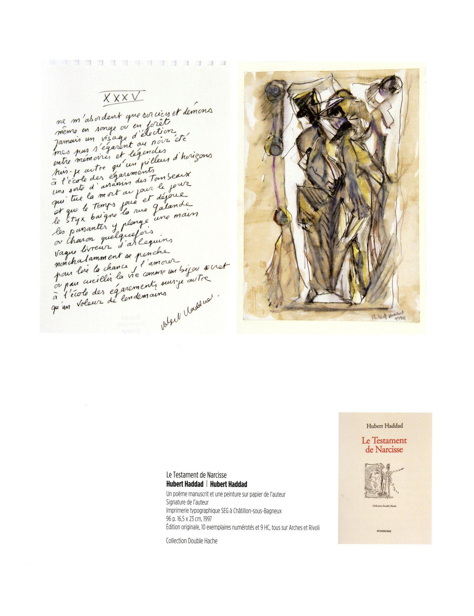 Le testament de Narcisse - Hubert Haddad / Hubert Haddad