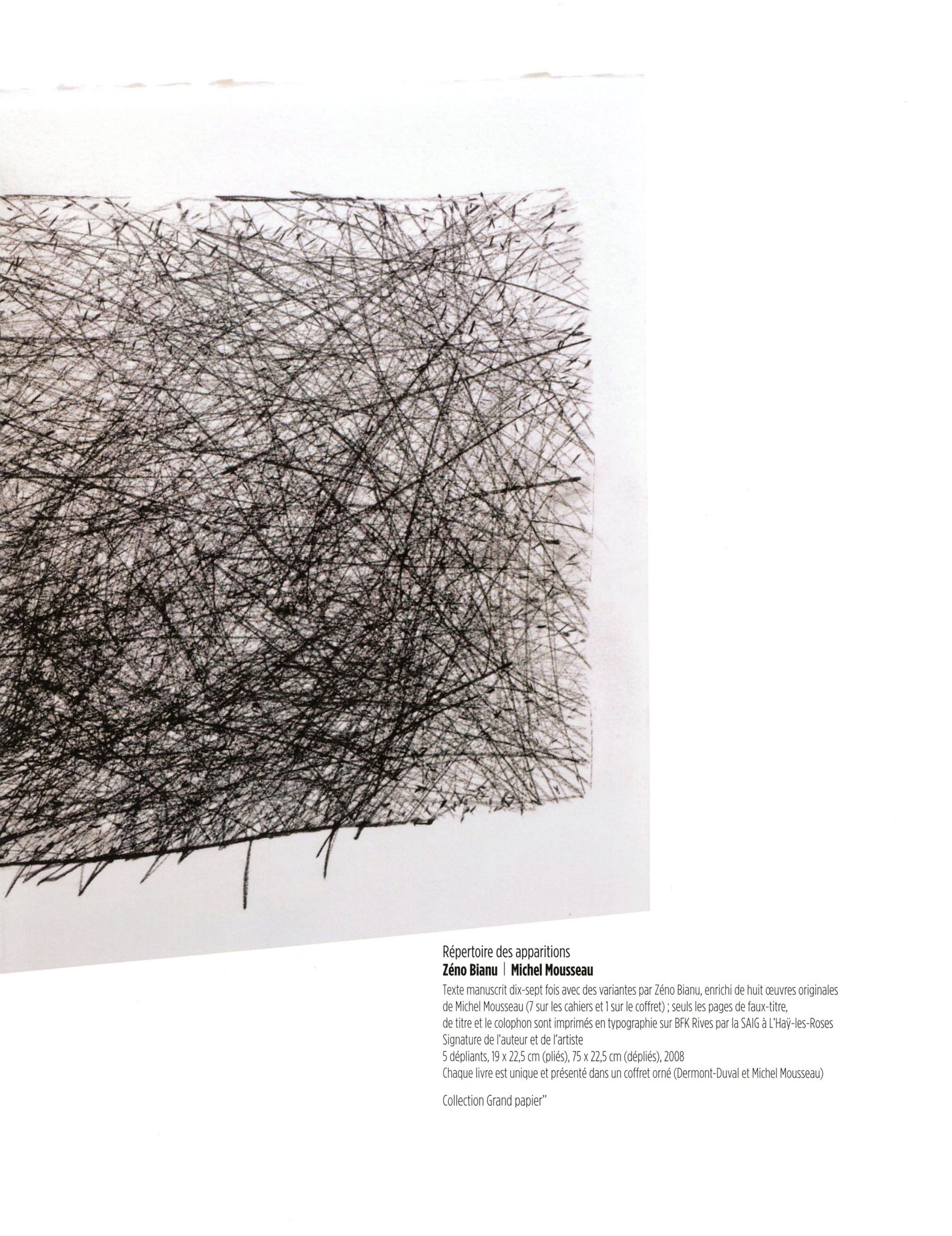Répertoire des apparitions - Zéno Bianu / Michel Mousseau
