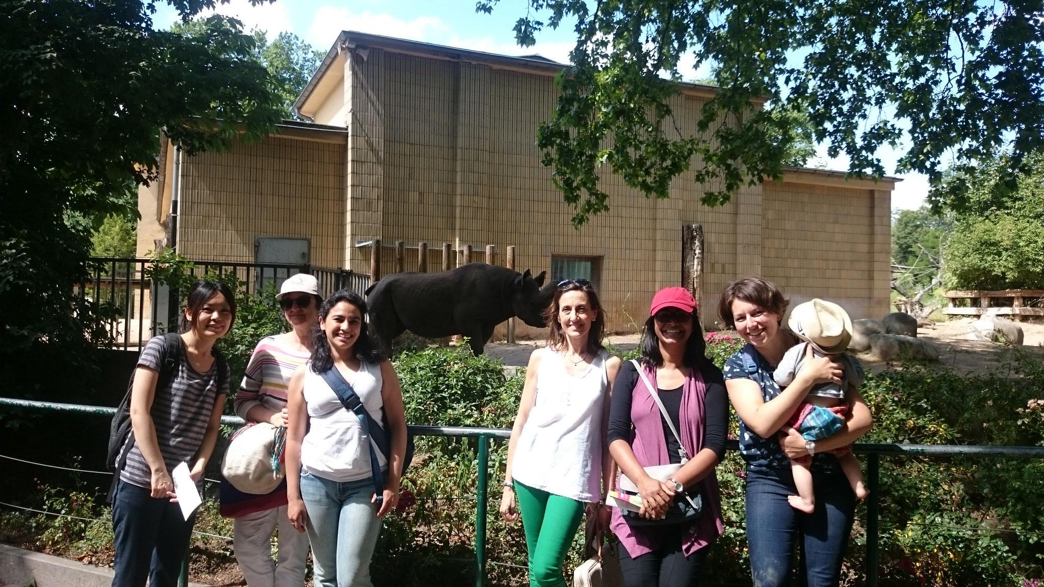 Das Spitzmaulnashorn steht vor dem Spitzmaulnashornhaus. (The Black Rhino is in front of the Black Rhino house. )