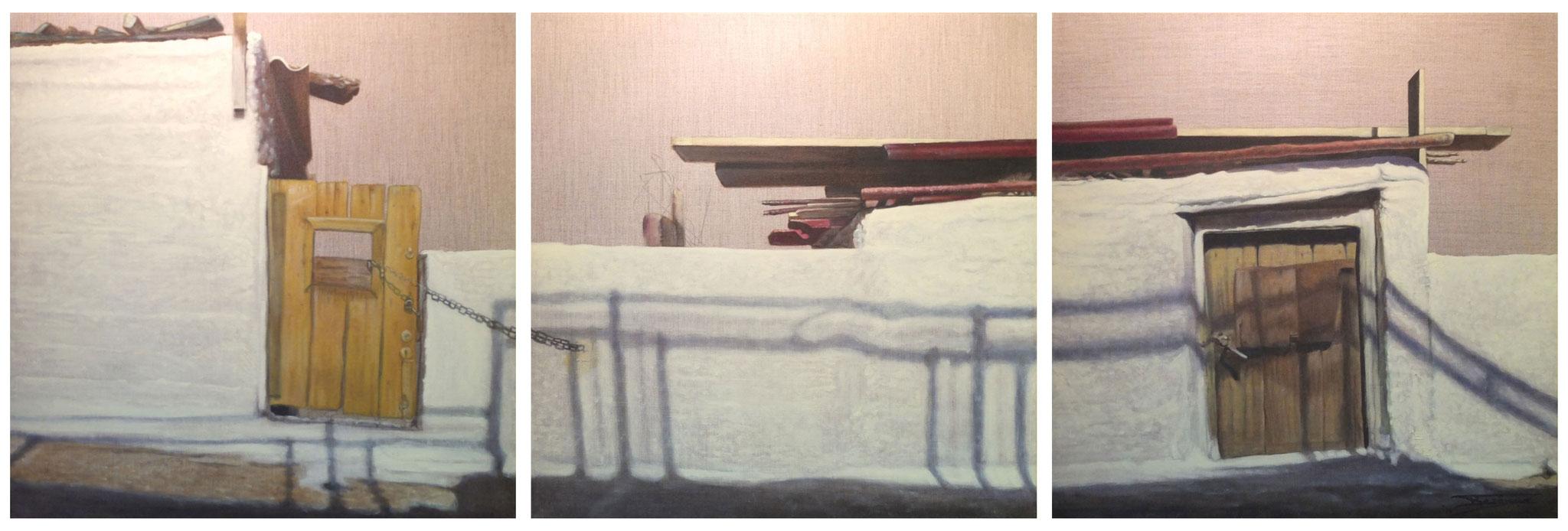 """""""Existension"""" 3x(60x60)cm, Huile sur lin brut, 2014 - Collection privée"""