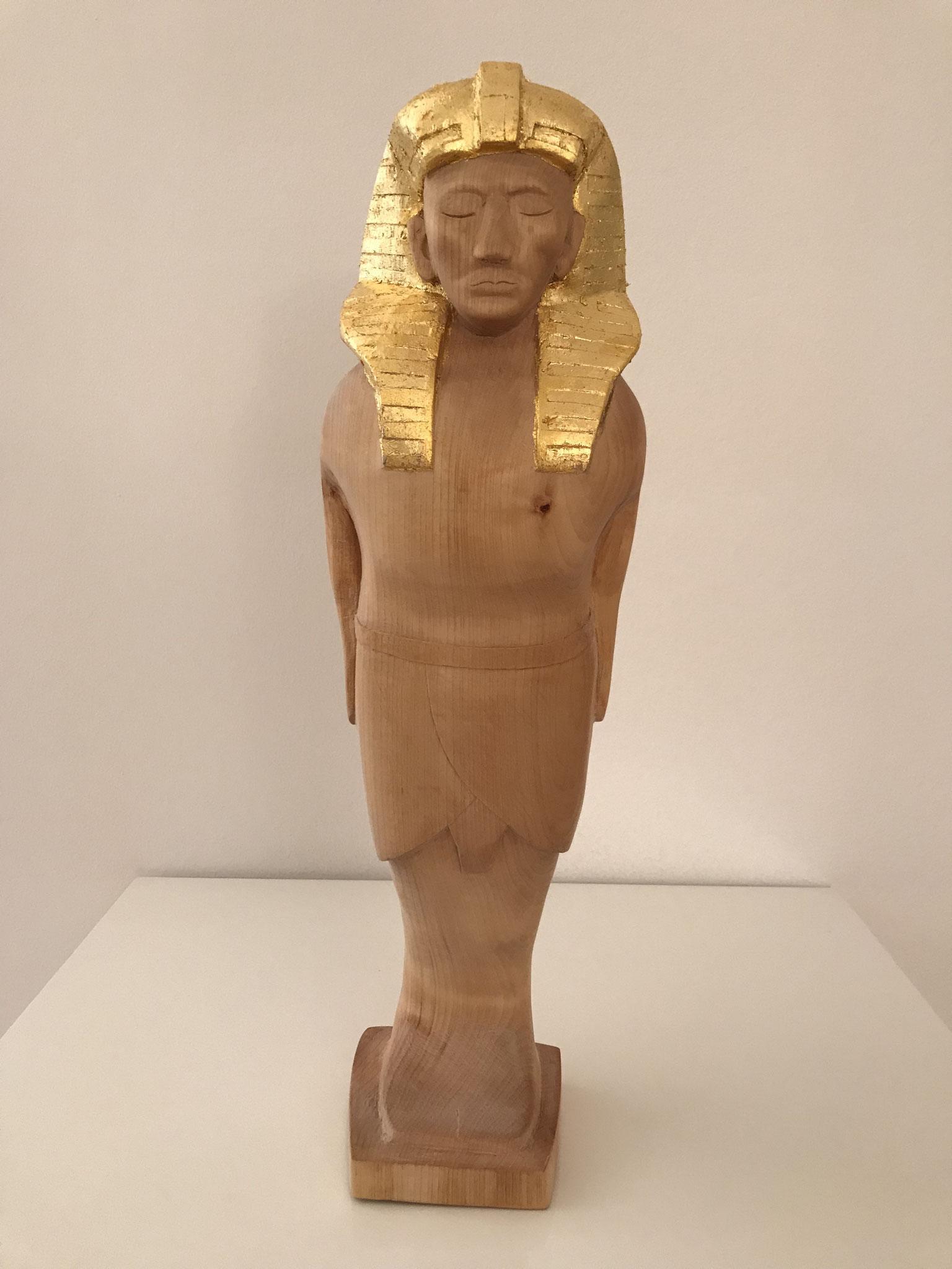 Ushabti Skulptur Aus Lindenholz Vergoldet Mit 24 Karat Blattgold