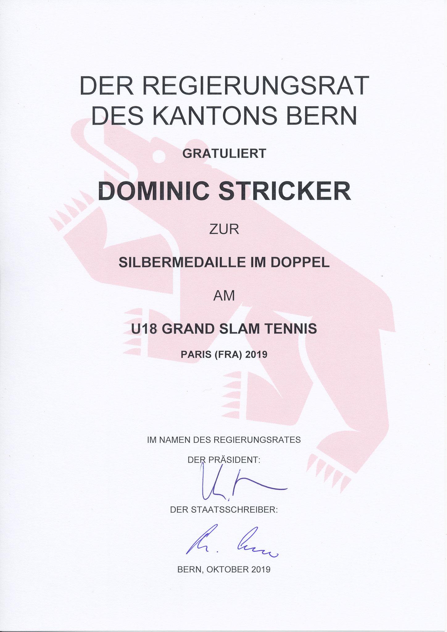 Dominic wird an der Sportlerehrung 2019 des Kantons Bern geehrt.