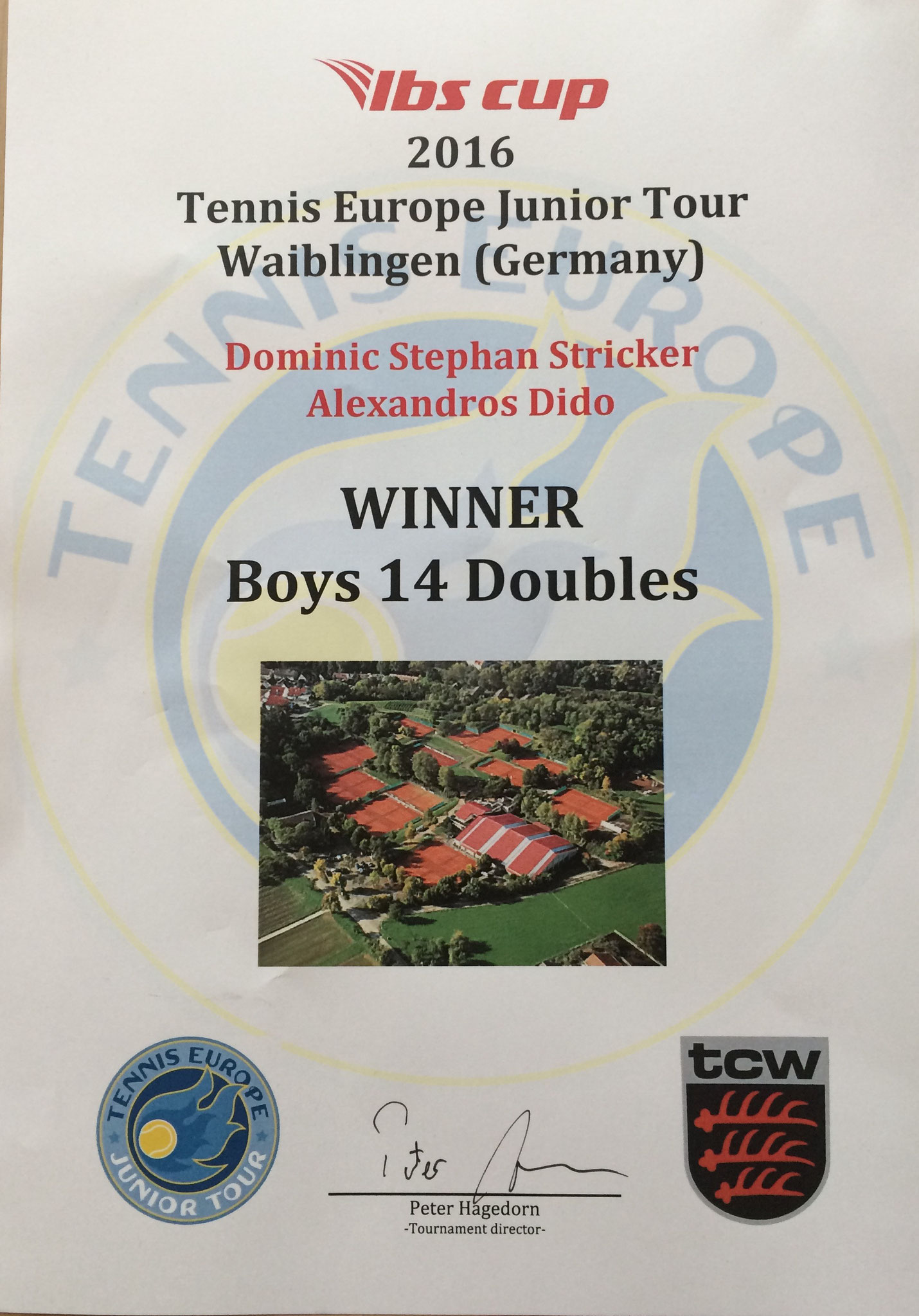 Diplom Winner Boys 14 Doubles