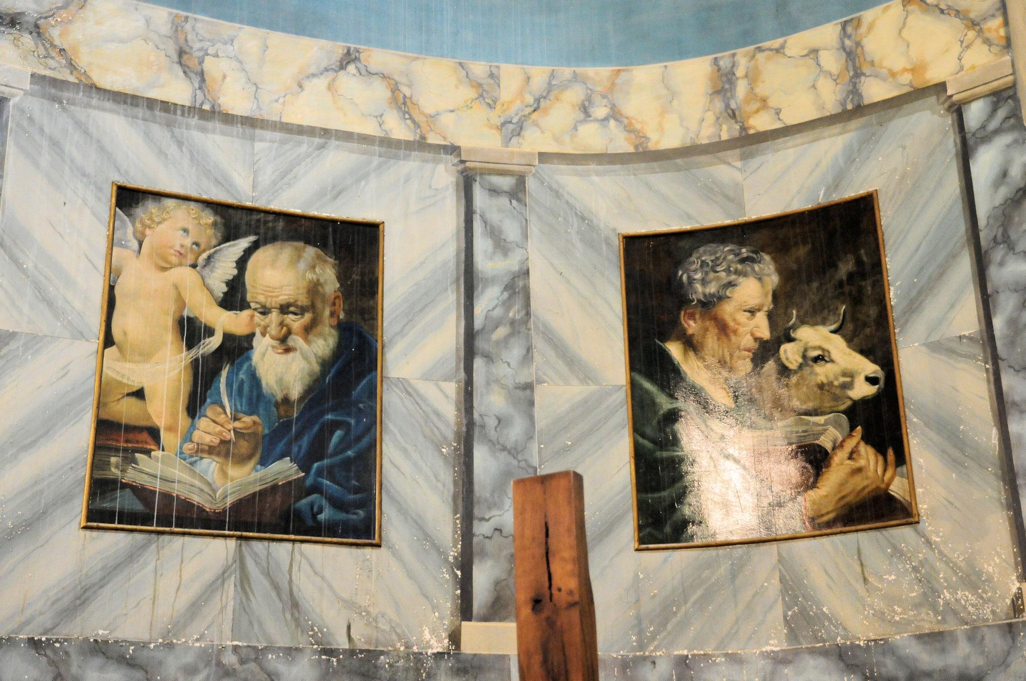 L'église Sainte Marie-Madeleine de Duras : détail des peintures des évangélistes