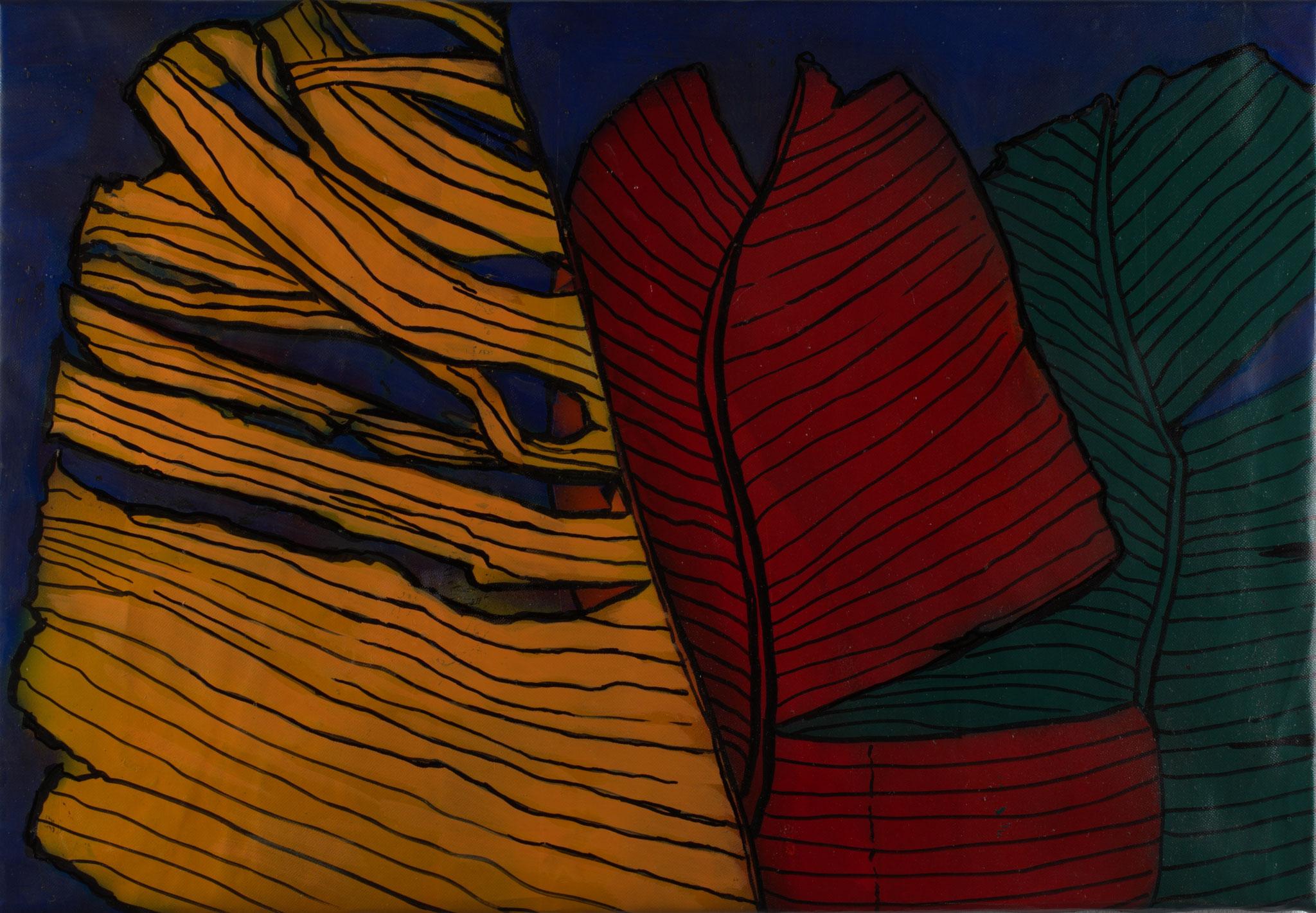 Drei Banaenblätter, Sprayarbeit auf Cordura