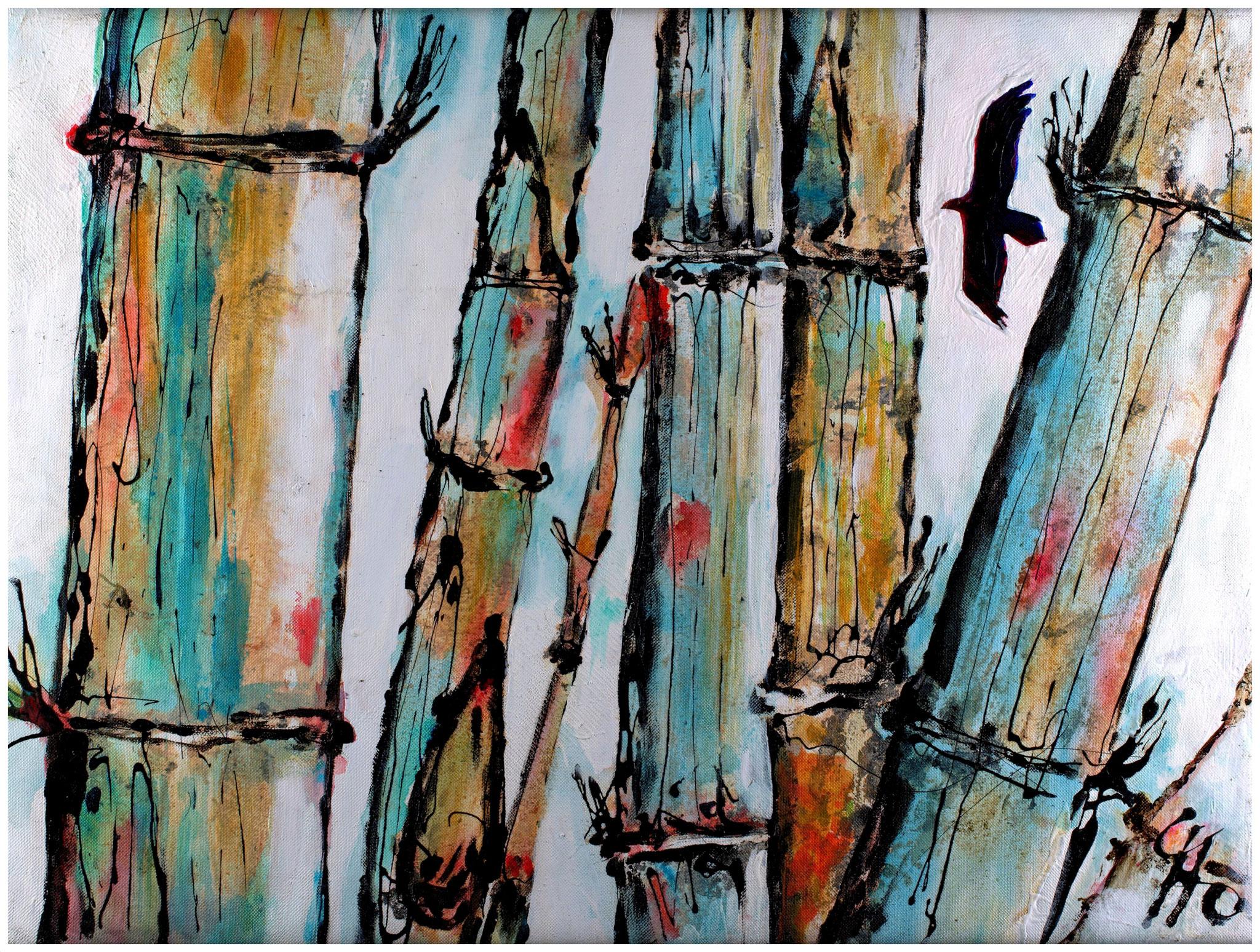 Sopilote (Geier) im Bambus, Teer und Acryl auf Cordura