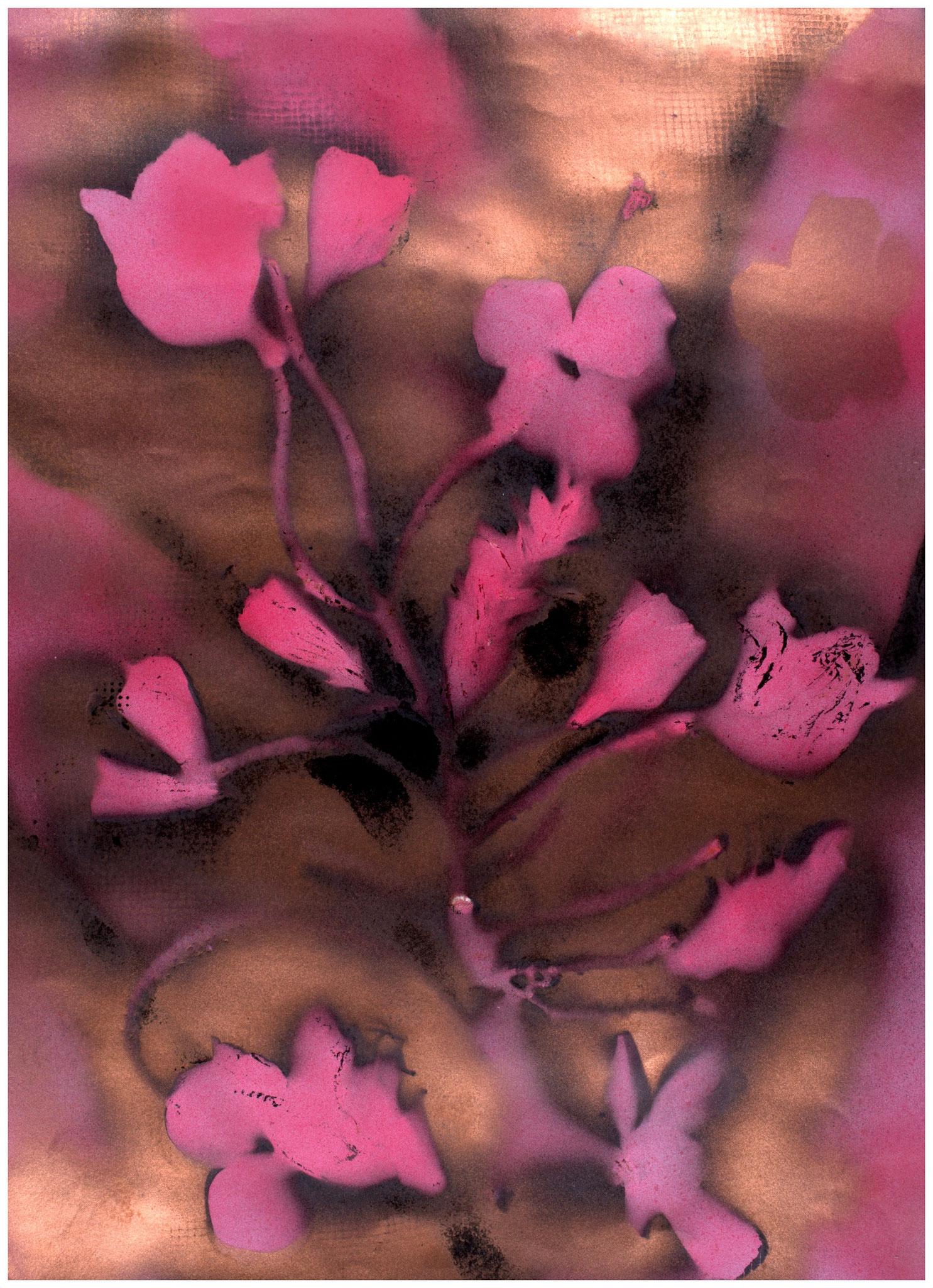 Les fleur du mal, Sprayarbeit auf Papier