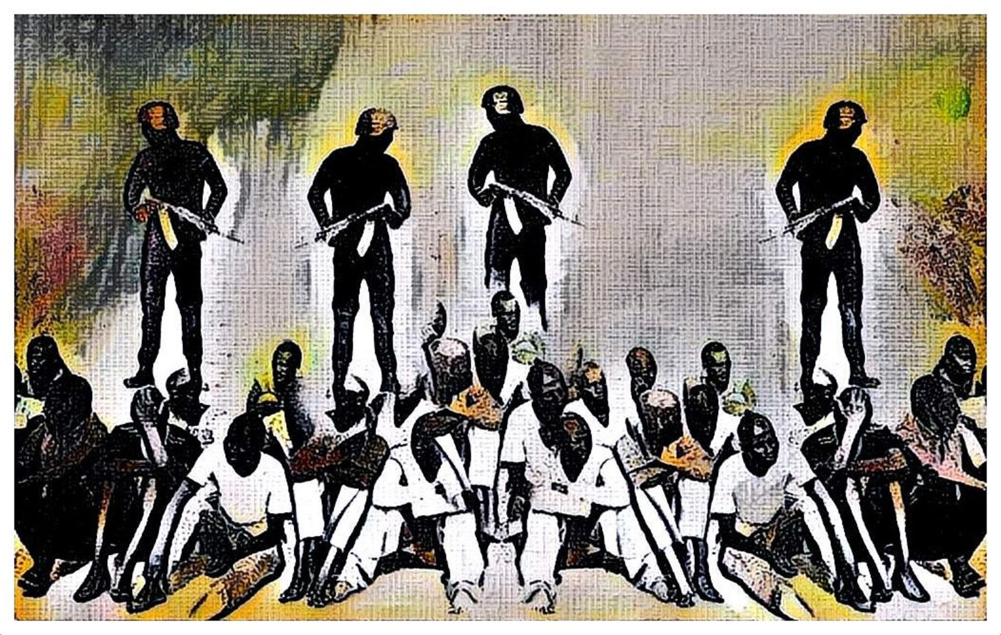 moderner Sklavenmarkt, digitale Bearbeitung eine Pressefotos