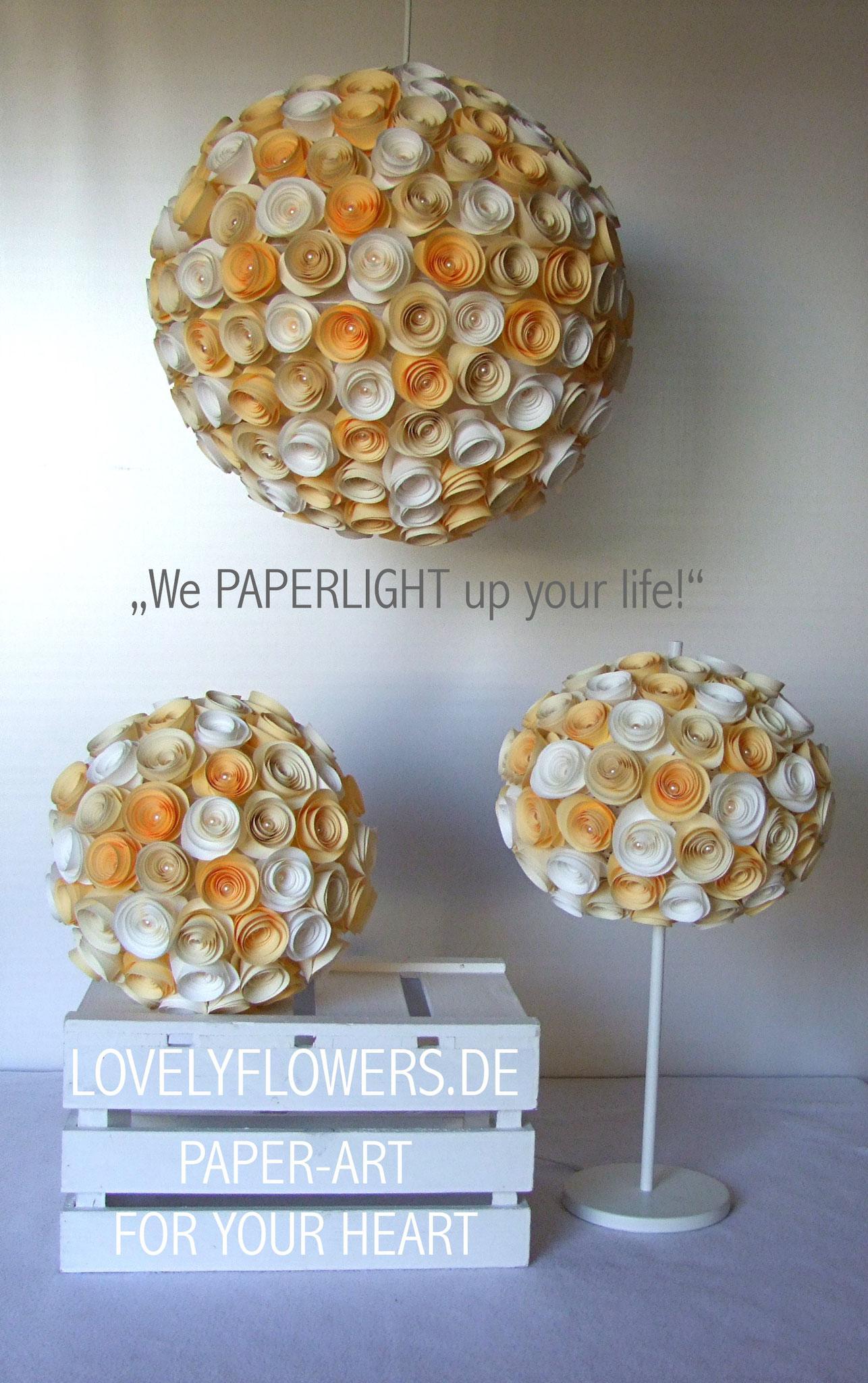 www.lovelyflowers.de  - Paper Art Lapen gibts als Hängelampen, Stehlampen, Kugellampen!