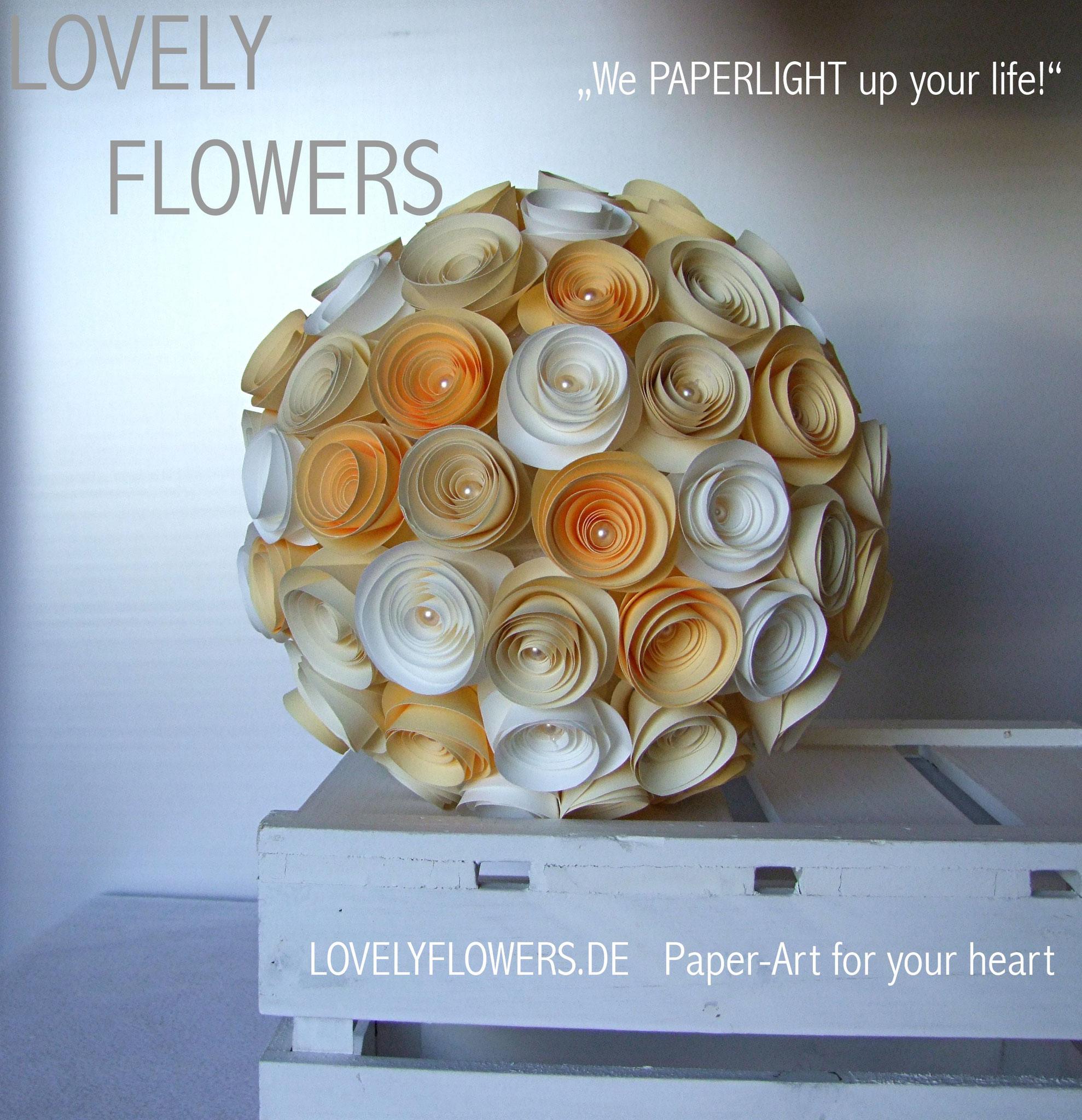 www.lovelyflowers.de - Paper Art Lampen gibts als Dekokugeln für jede Gelegenheit!