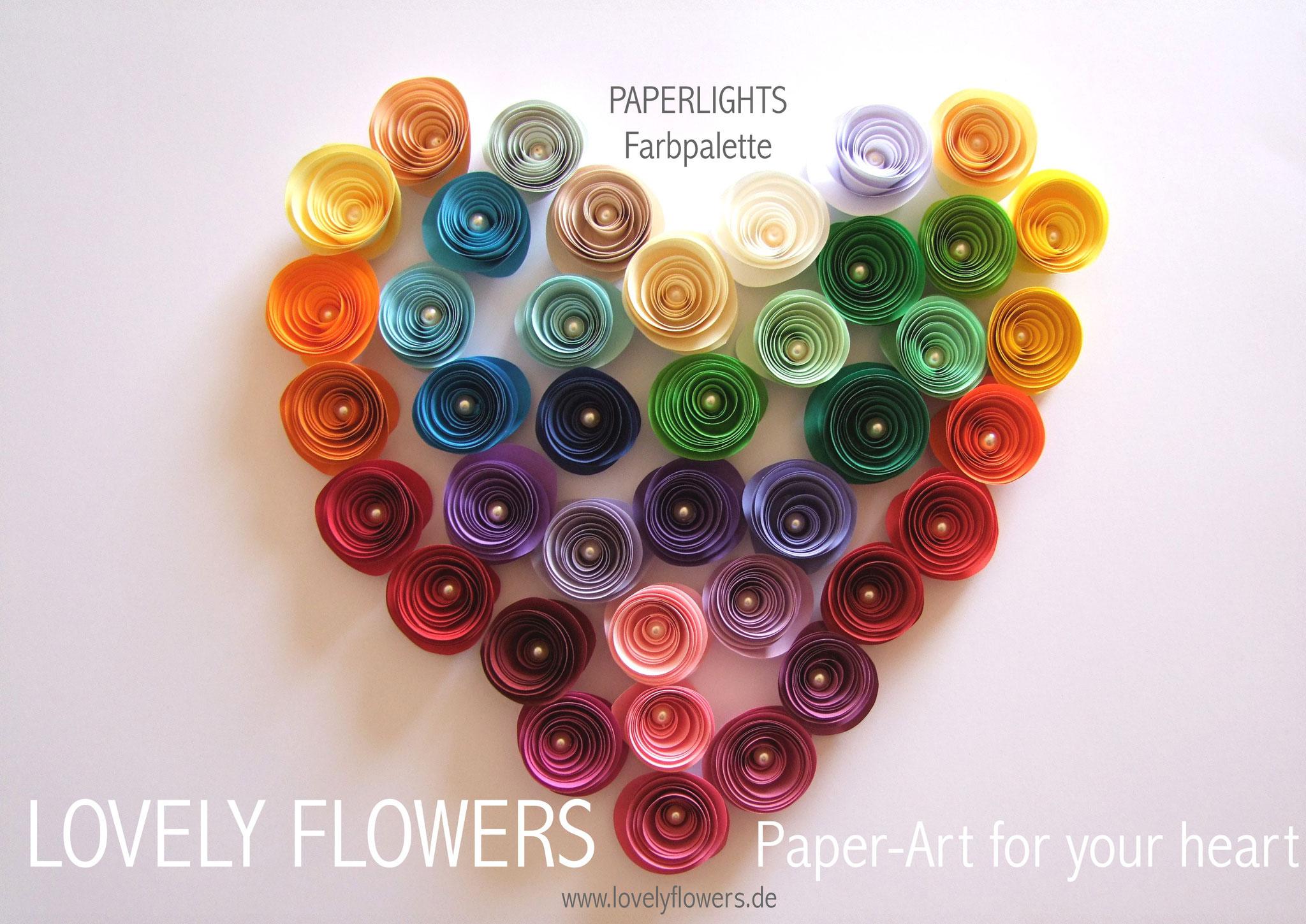 www.lovelyflowers.de - Paper Art Lampen gibt es in vielen schönen Farben und unzähligen Kombinationen!