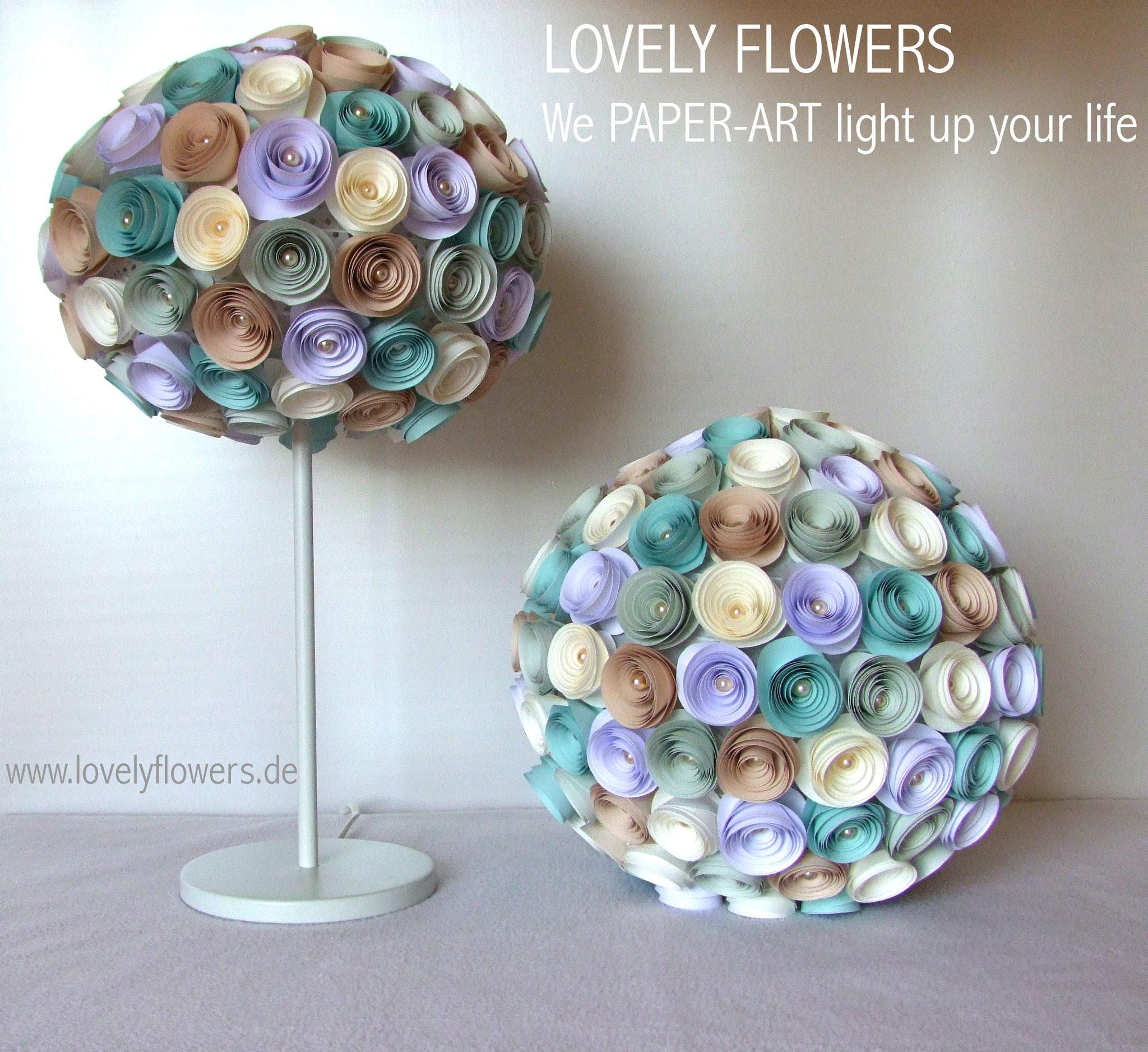 www.lovelyflowers.de - Paper Art Lampen gibts auch als Sets!