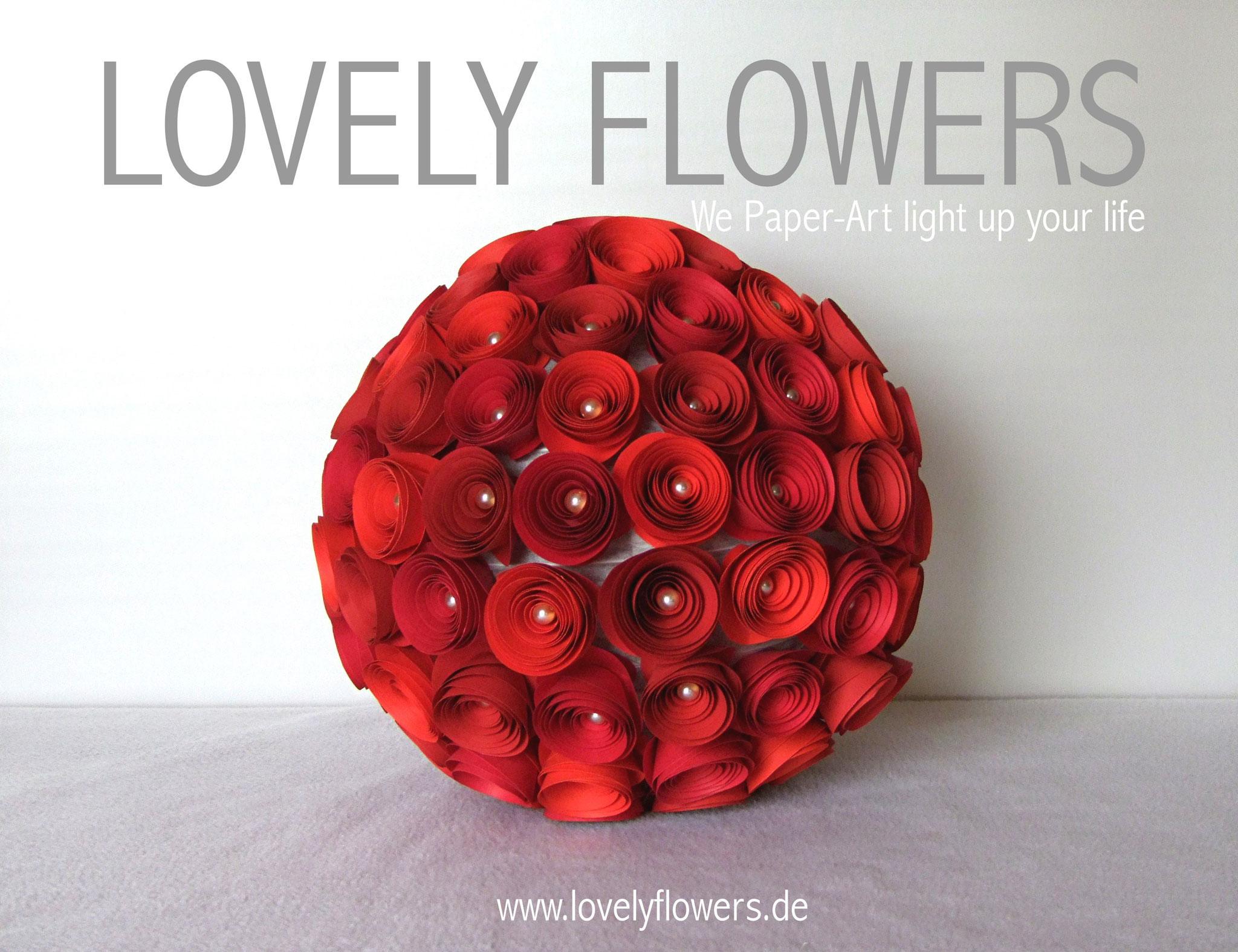 www.lovelyflowers.de - Paper Art Lampen in Rot erwecken die Leidenschaft!