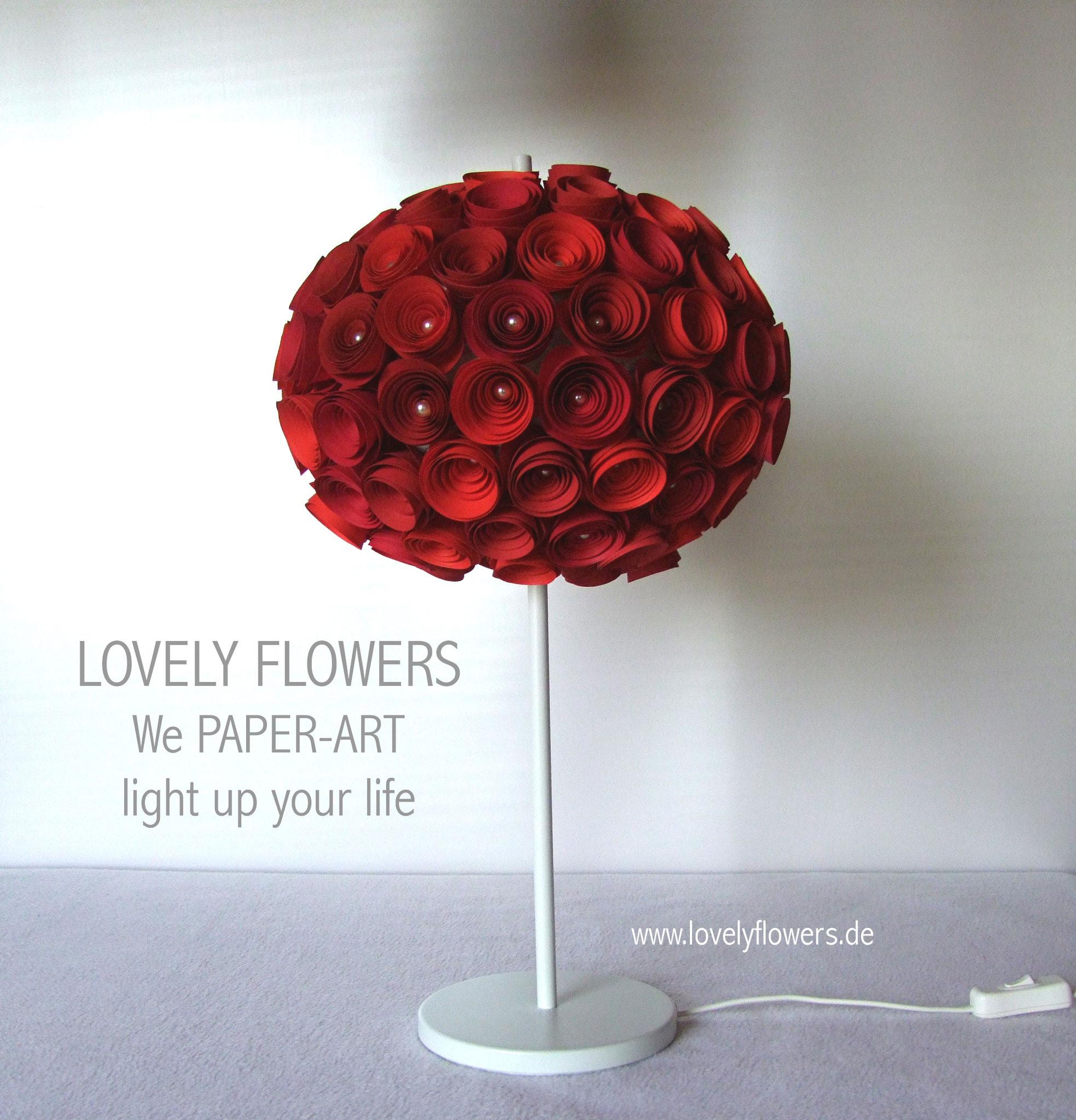 www.lovelyflowers.de - Paper Art Lampen in Rot sind Leidenschaftserwecker!