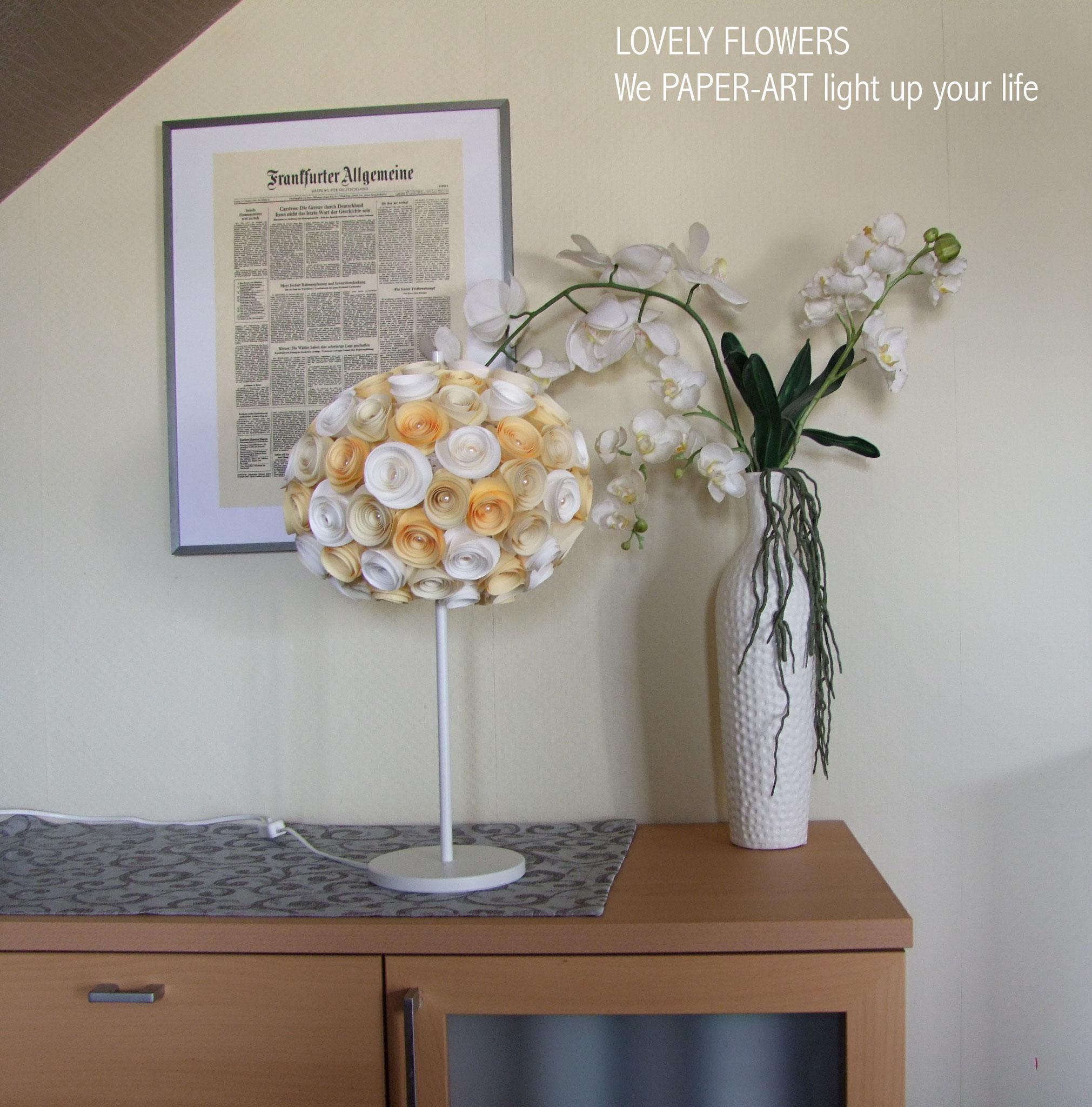 www.lovelyflowers.de - Paper Art Lampen gibt es in edlen oder hippen Farben!
