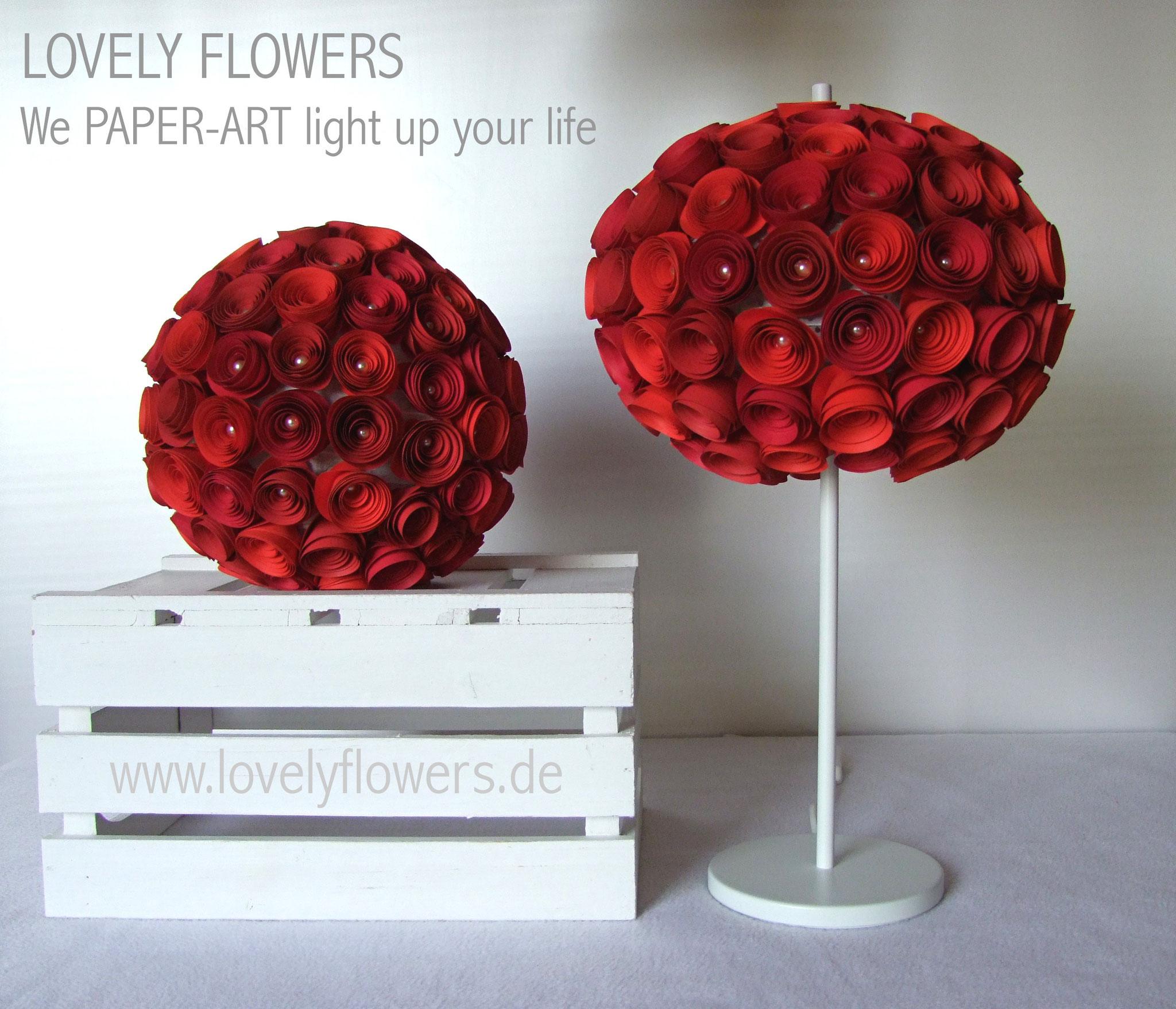 www.lovelyflowers.de - Paper Art Lampen in Rot ziehen die Liebe an!