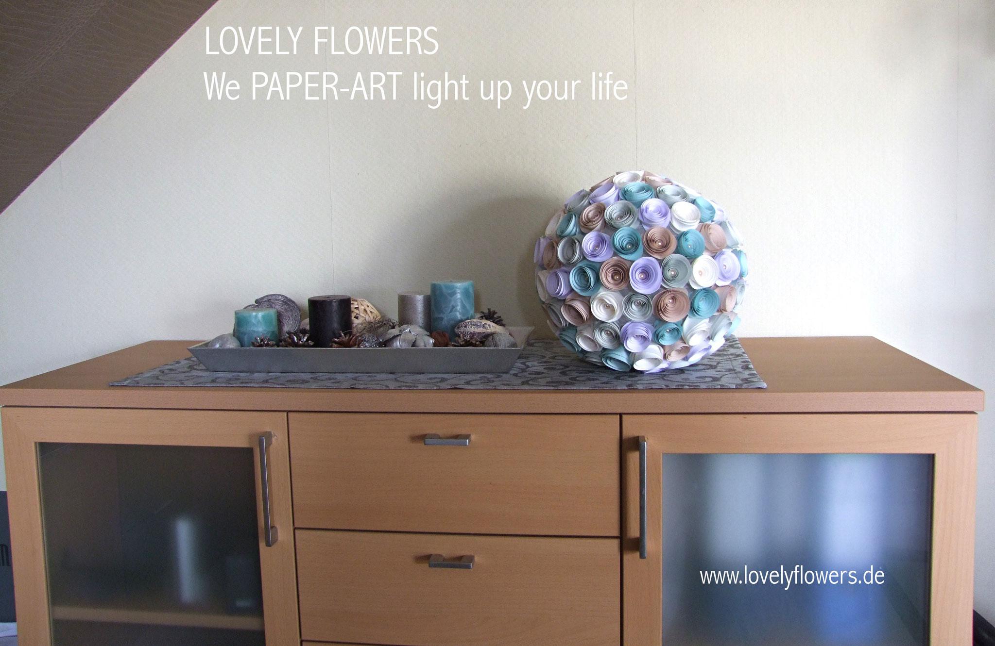 www.lovelyflowers.de - Paper Art Lampen kannst Du überall dekorieren!