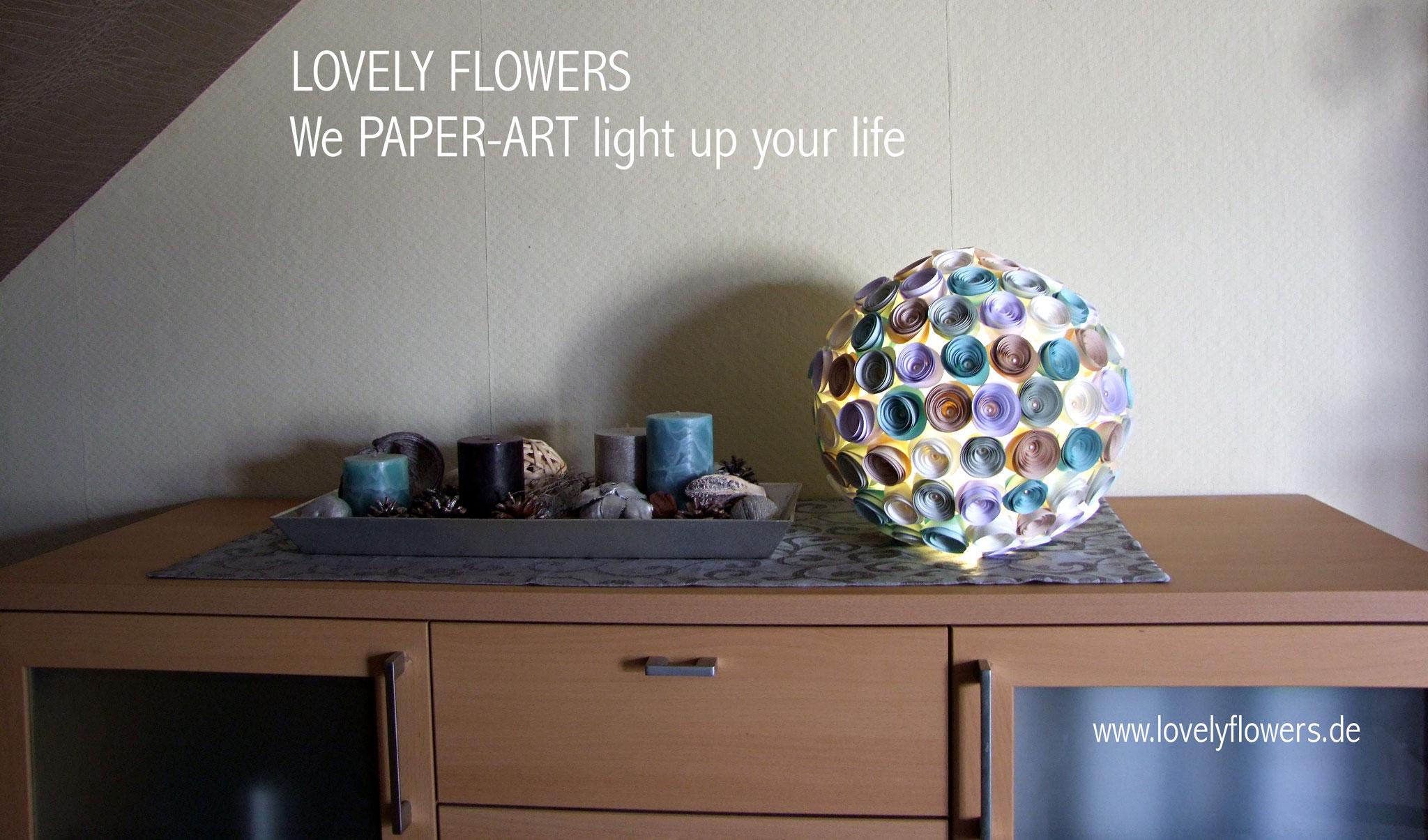 www.lovelyflowers.de - Paper Art Lampen gibts für Anrichten, Sideboards und Schränke!