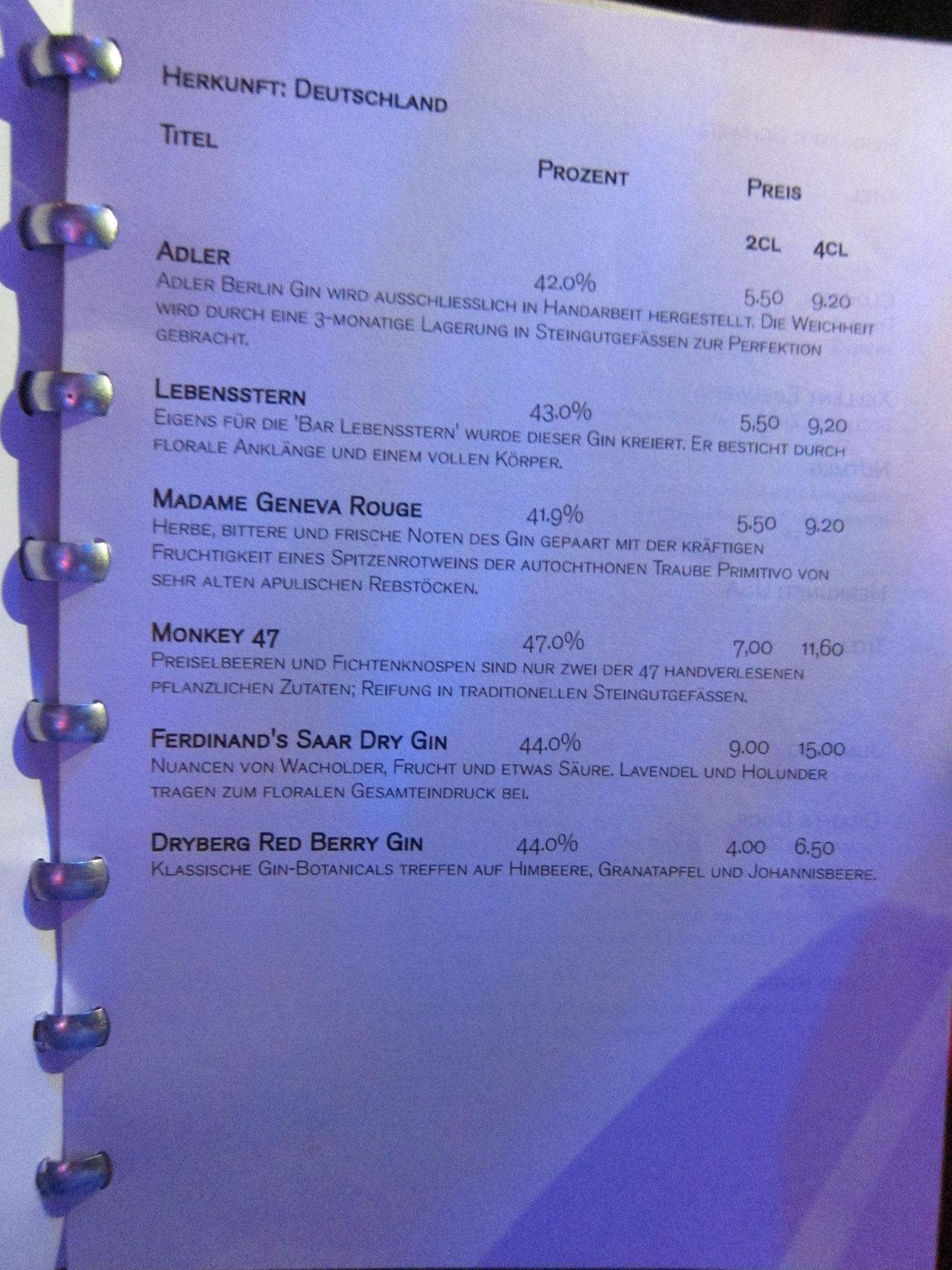 Die rote Bar Cocktailkarte